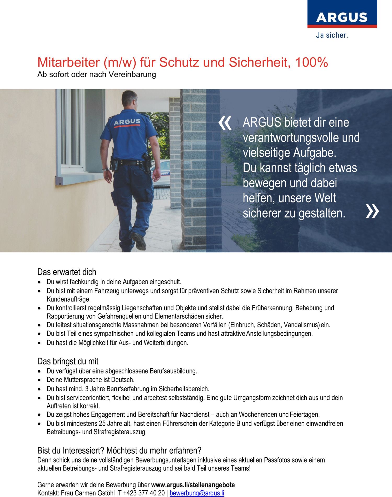 Inserat Mitarbeiter (m/w) für Schutz und Sicherheit, 100%