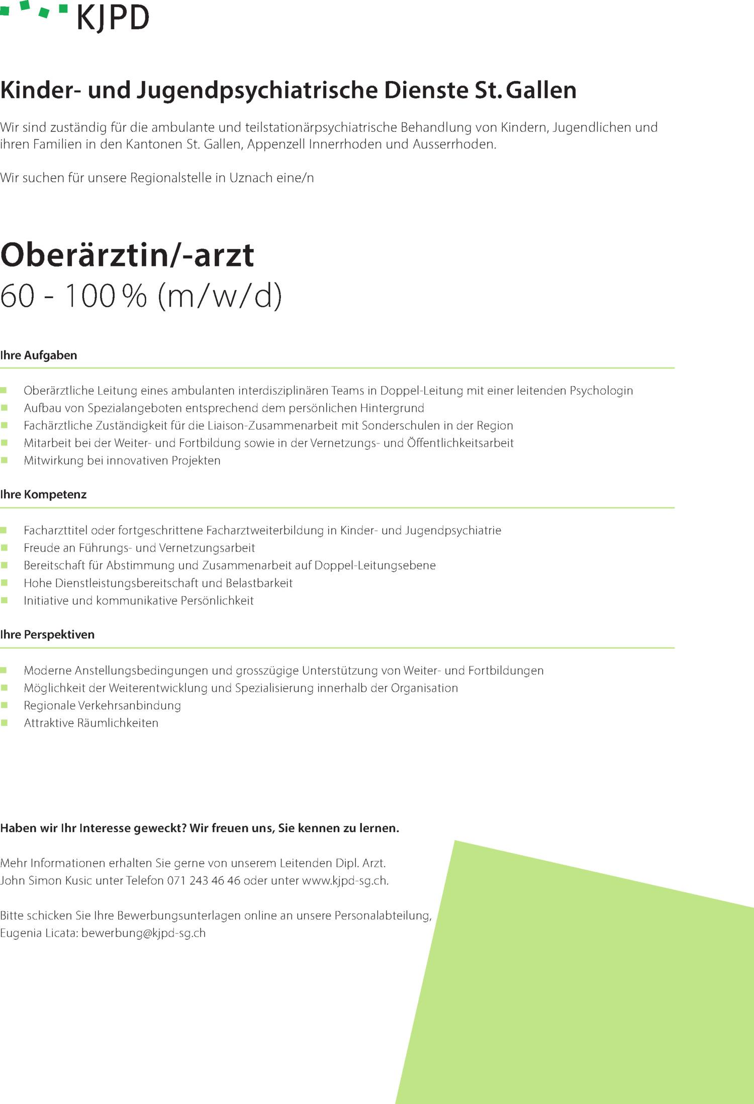 Inserat Oberärztin/-arzt 60 – 100 % (m/w/d)