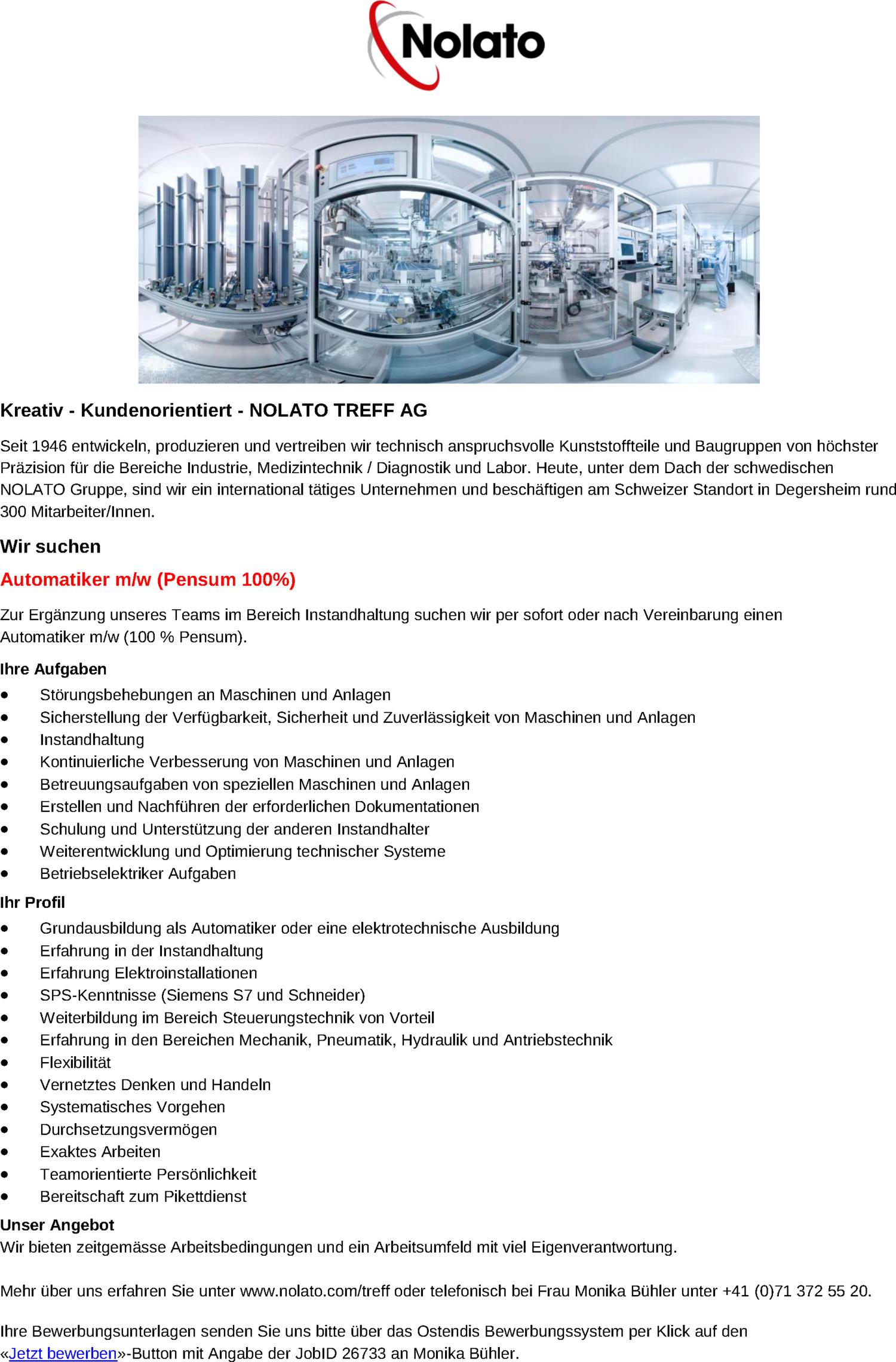 Inserat Automatiker m/w (Pensum 100%)