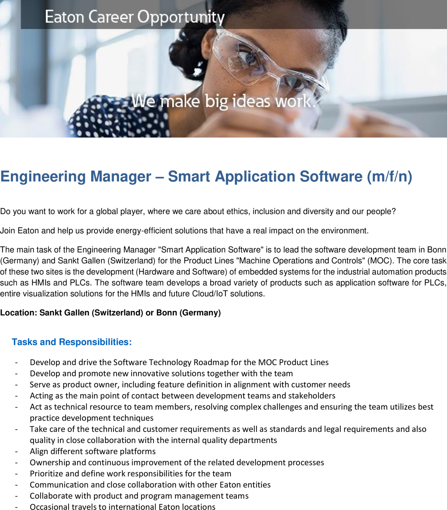 Inserat Engineering Manager - Smart Application Software (m/f/n)