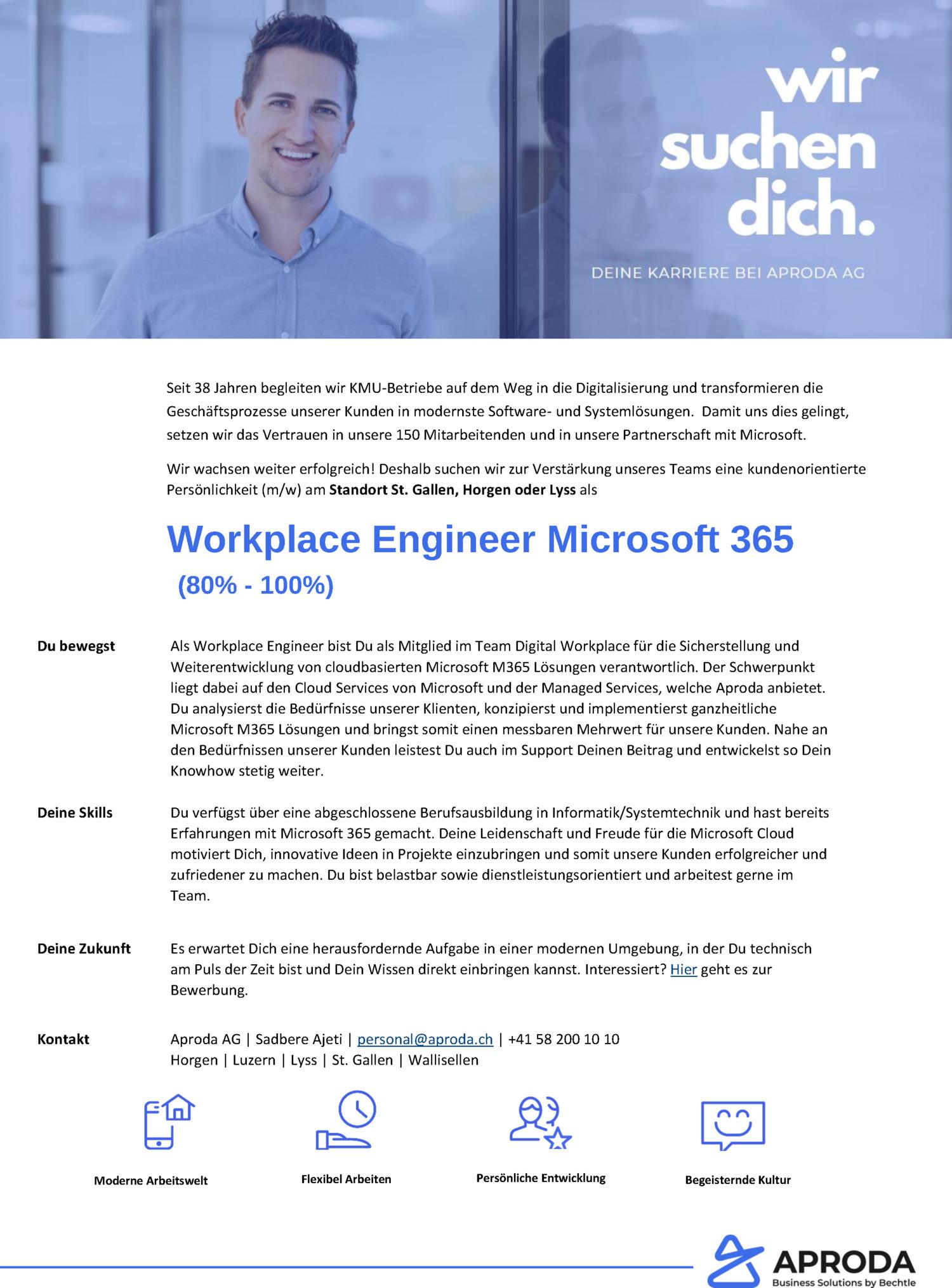 Inserat Workplace Engineer Microsoft 365