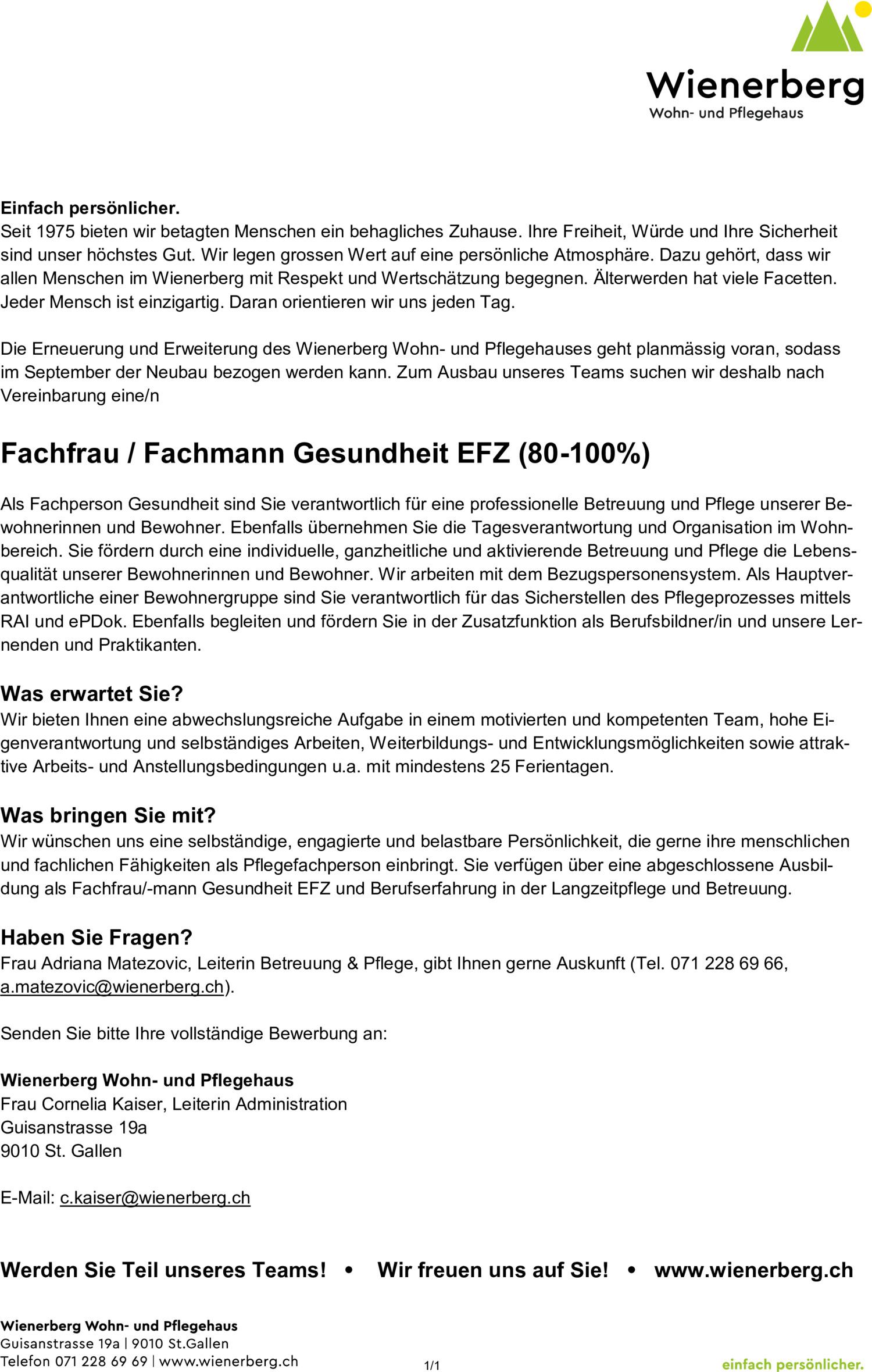 Inserat Fachfrau / Fachmann Gesundheit EFZ (80-100%)
