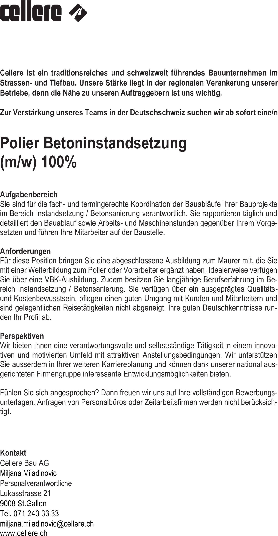 Inserat Polier Betoninstandsetzung  (m/w) 100%