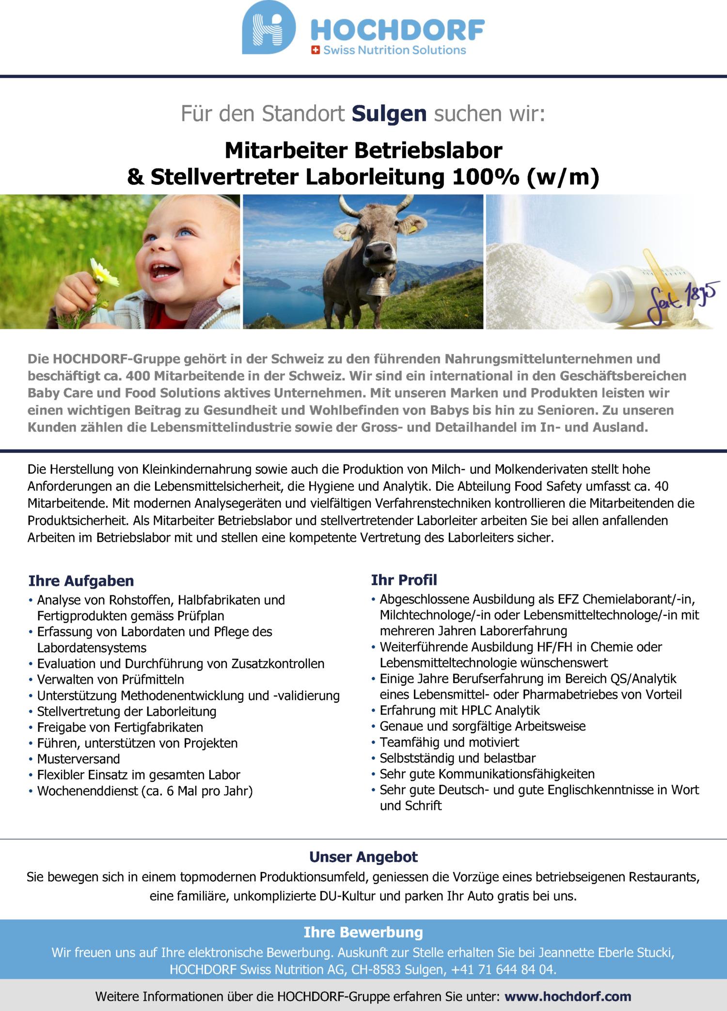 Inserat Anlagenführer/Operator 3 - 4 Schicht (w/m) (Bereich Sprühturm)