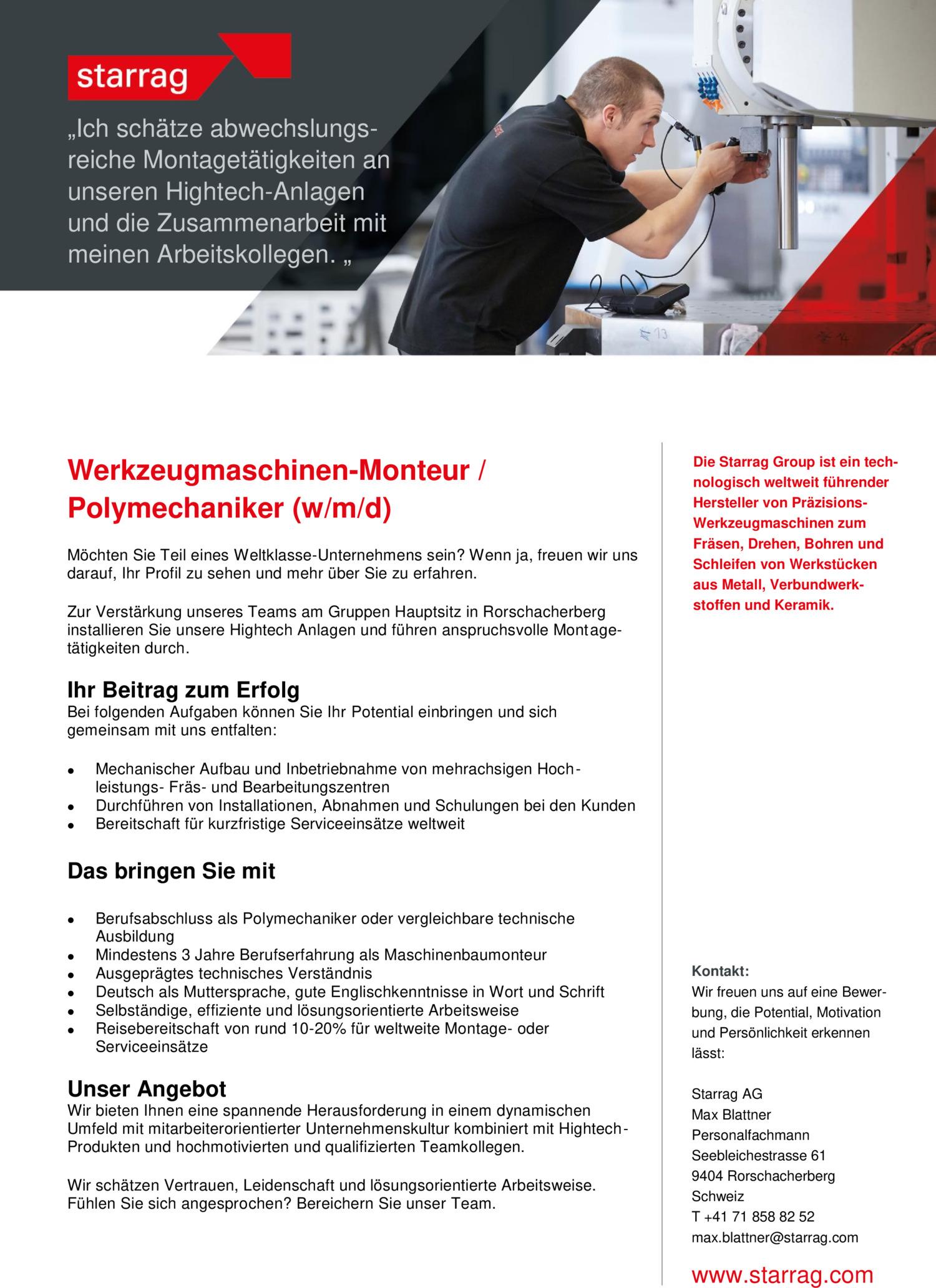 Inserat Werkzeugmaschinen-Monteur /  Polymechaniker
