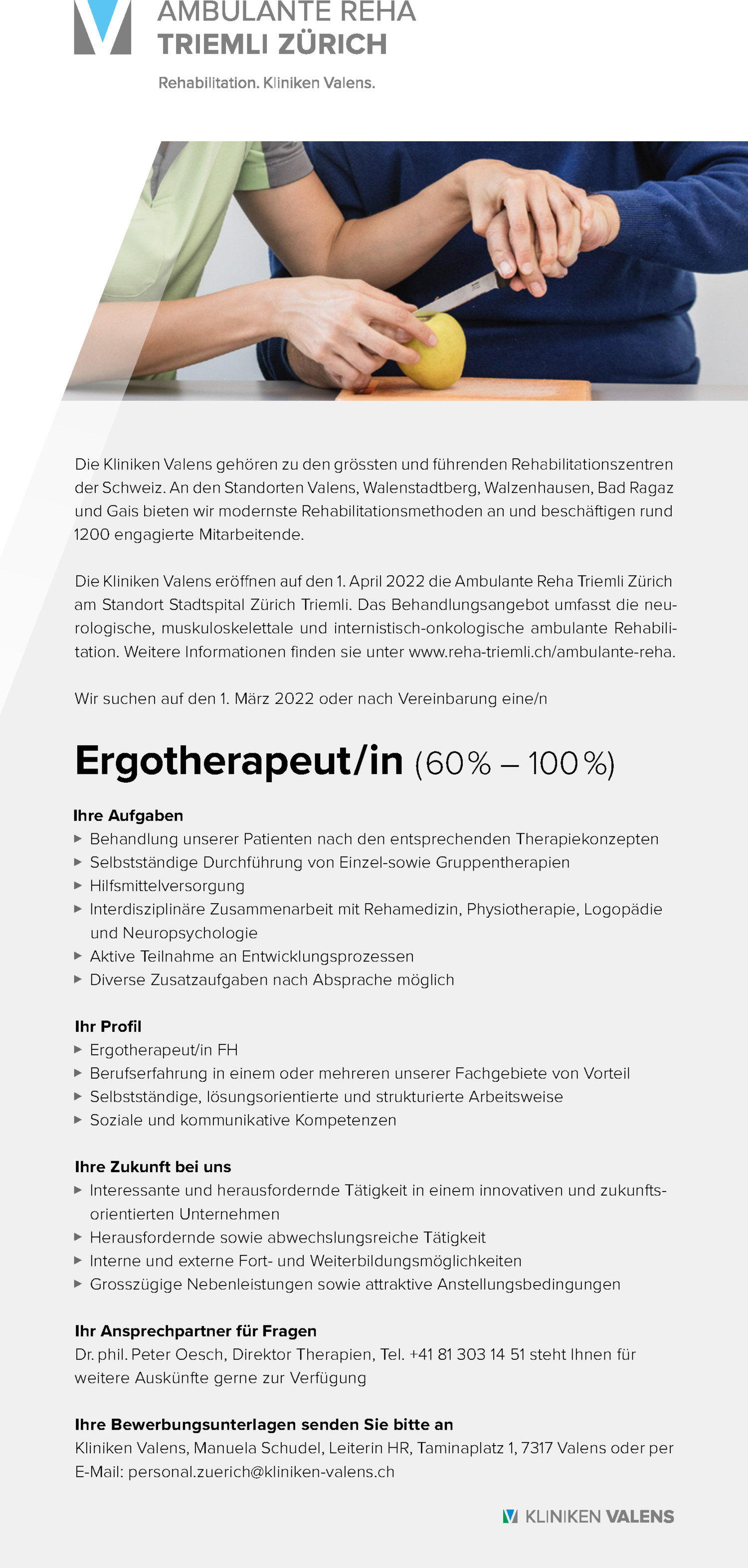 Inserat Ergotherapeut/in (60% – 100%)