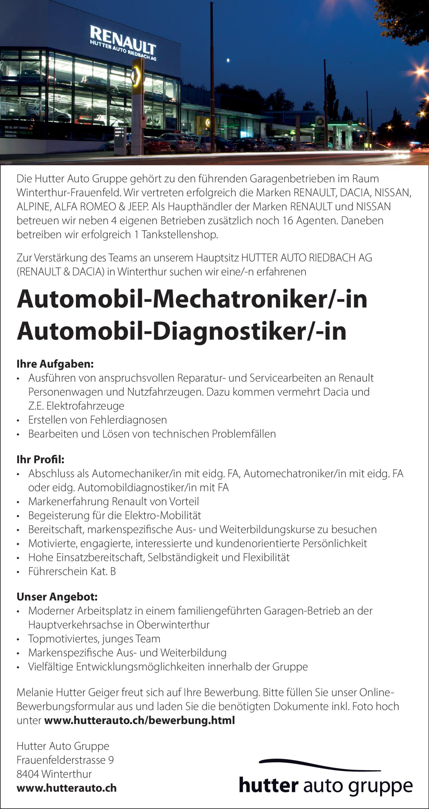 Inserat Automobil-Mechatroniker/-in oder Automobil-Diagnostiker/-in