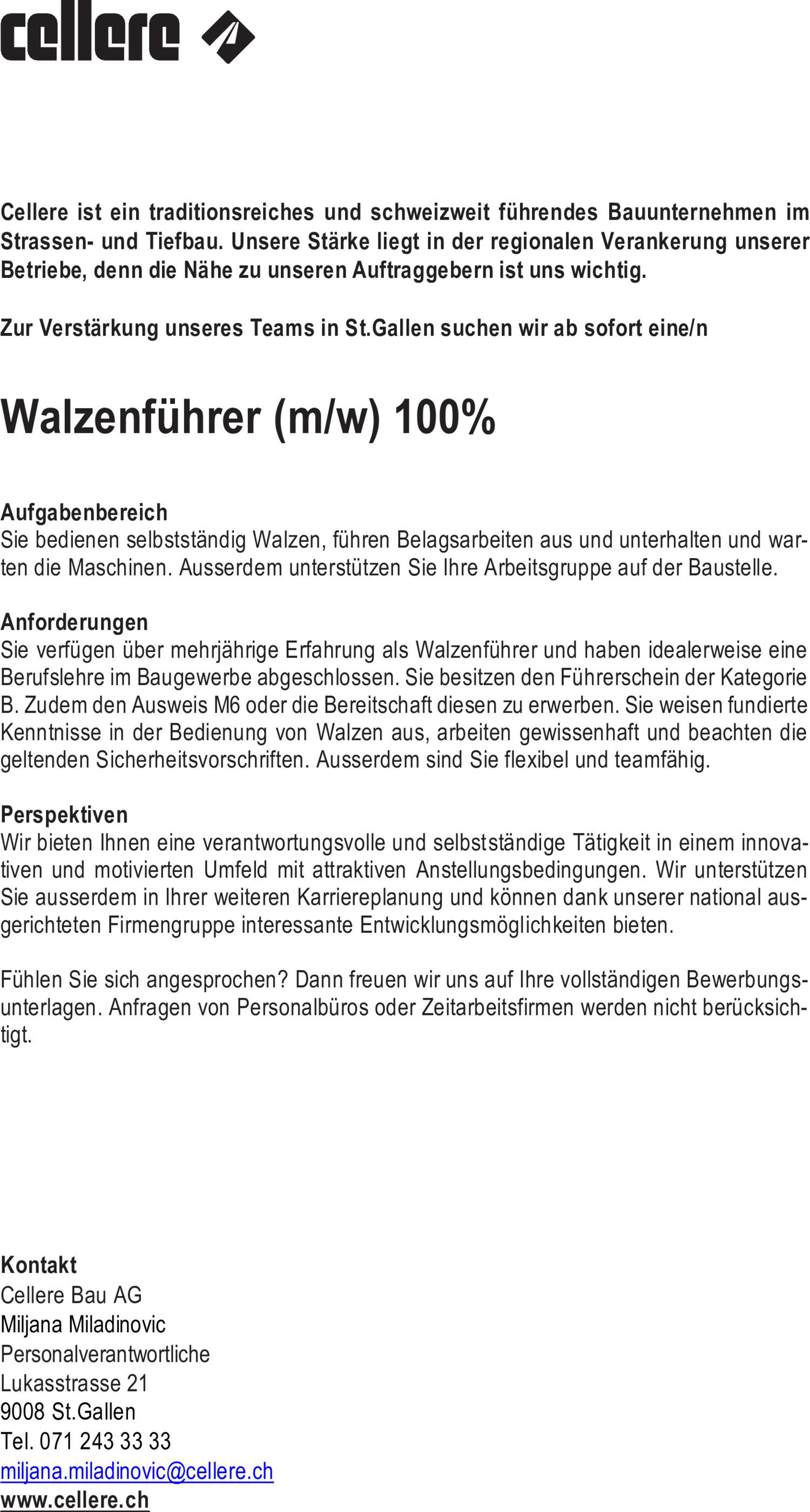 Inserat Walzenführer (m/w) 100%