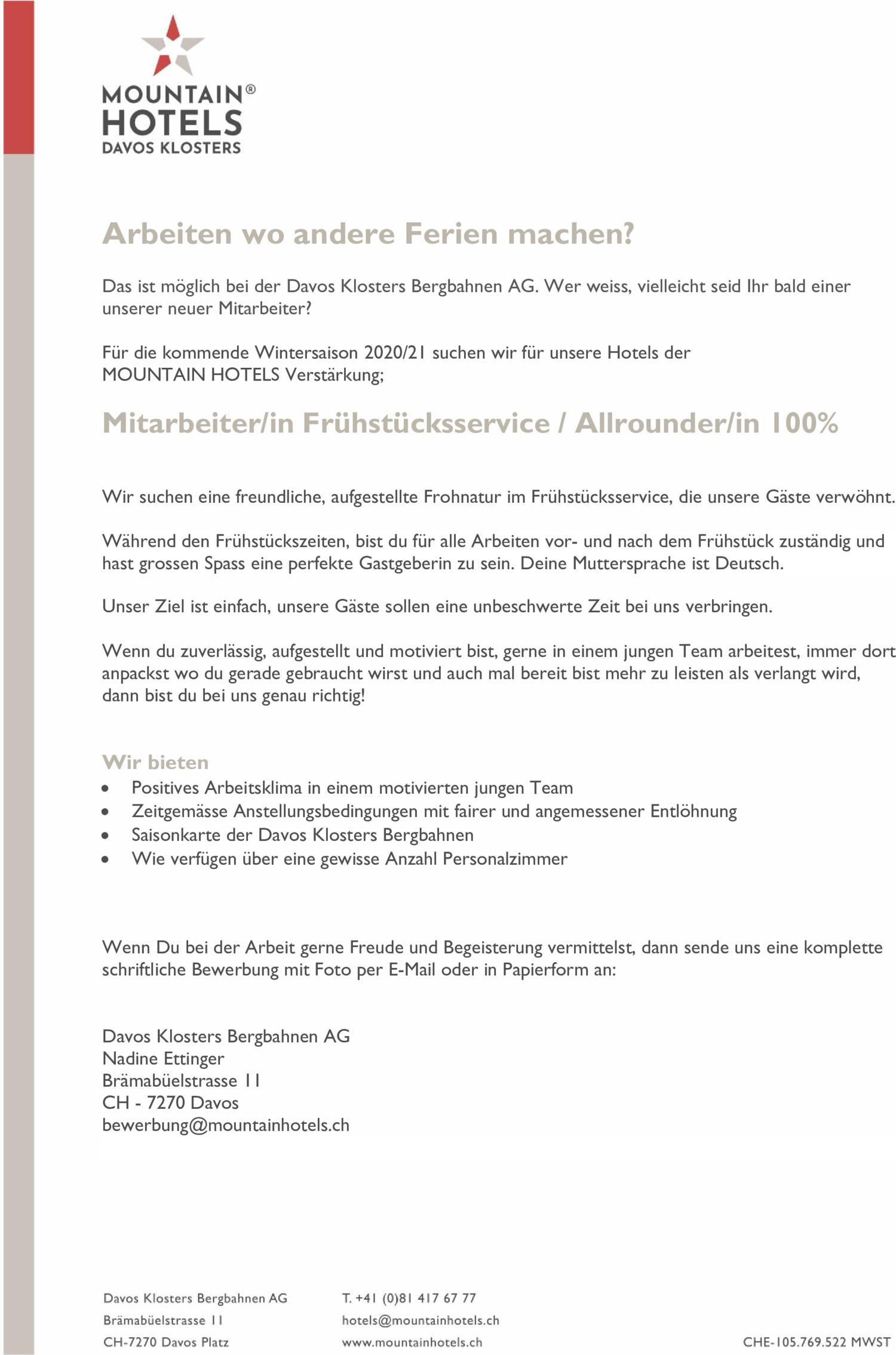 Inserat Davos Klosters Bergbahnen AG: Mitarbeiter/in Frühstücksservice / Allrounder/in 100%