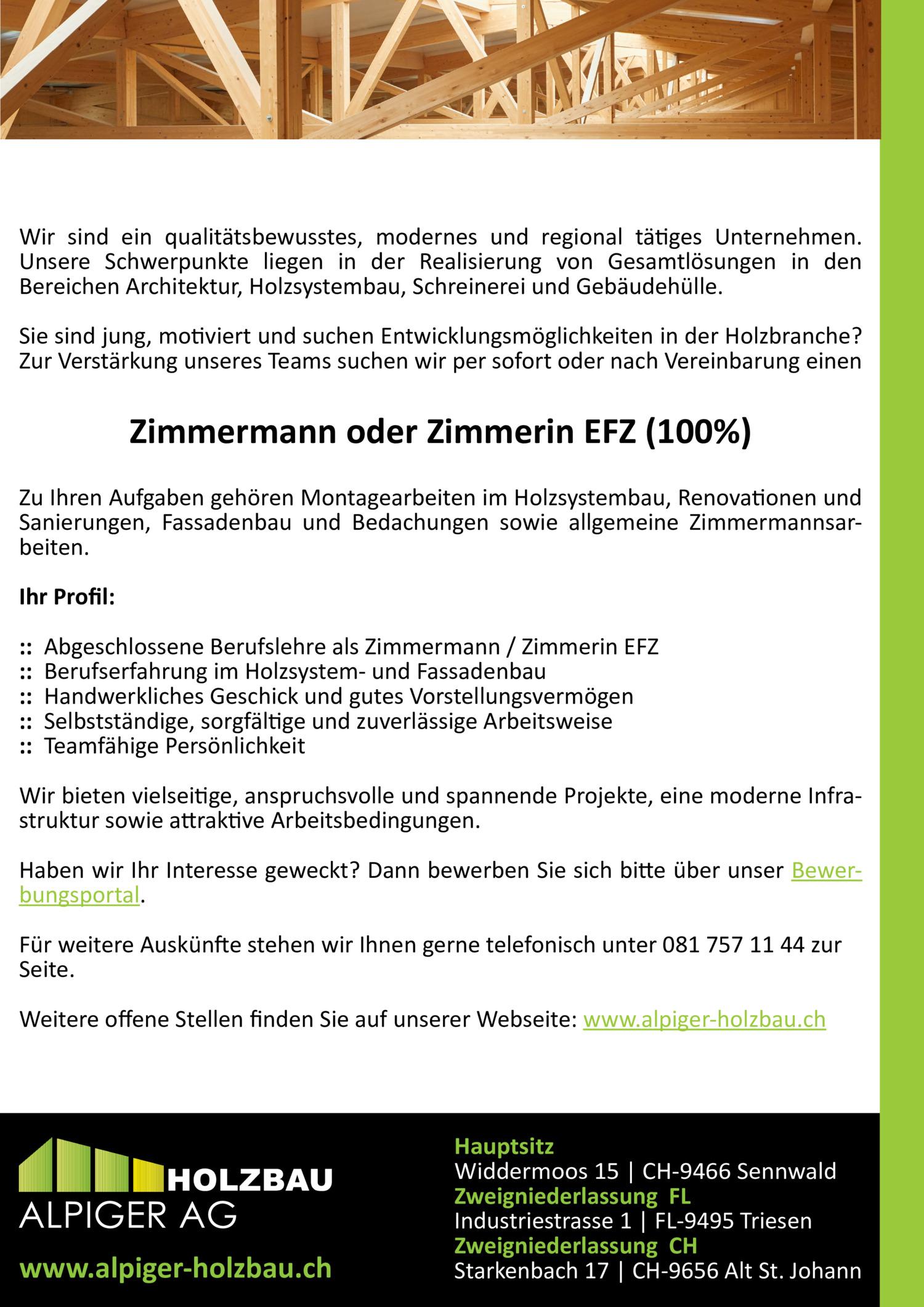 Inserat Zimmermann oder Zimmerin EFZ (100%)