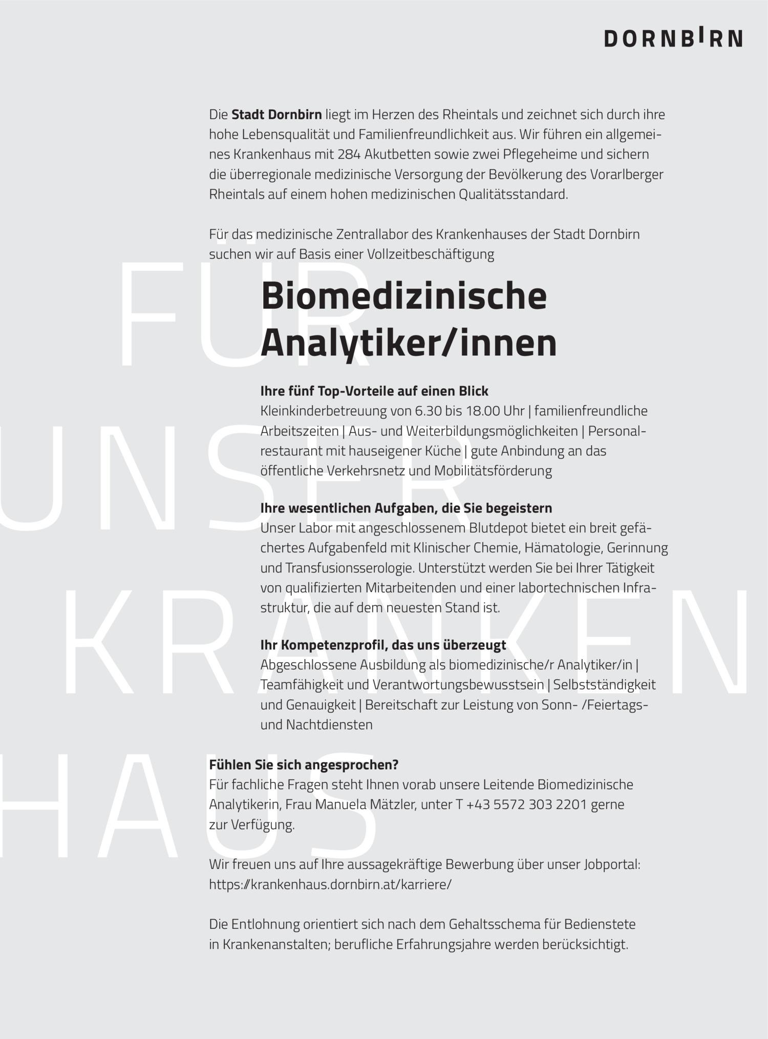 Inserat Biomedizinische Analytiker/innen