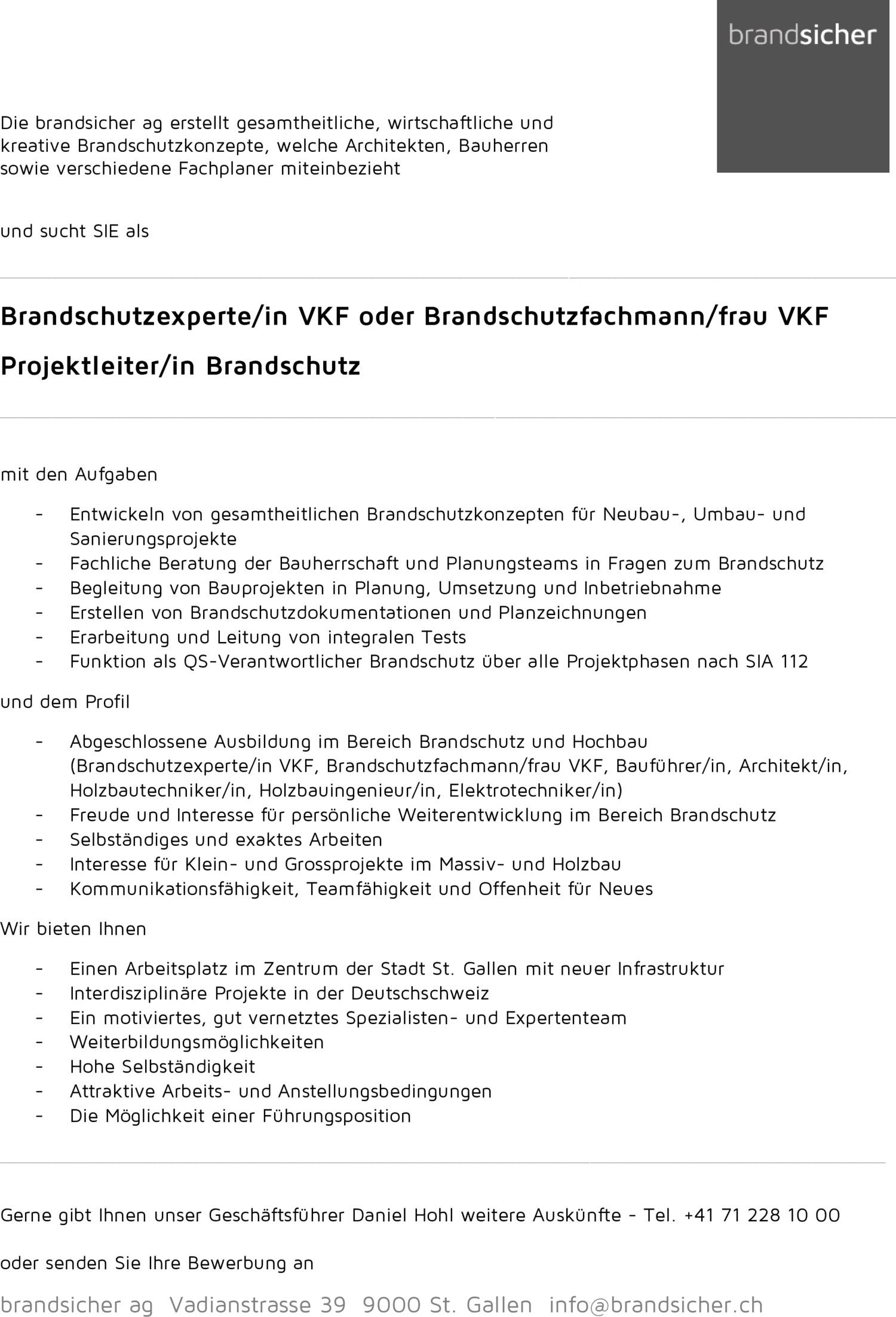 Inserat BrandschutzexperteIn VKF, Brandschutzfachmann Frau VKF, ProjektleiterIn Brandschutz