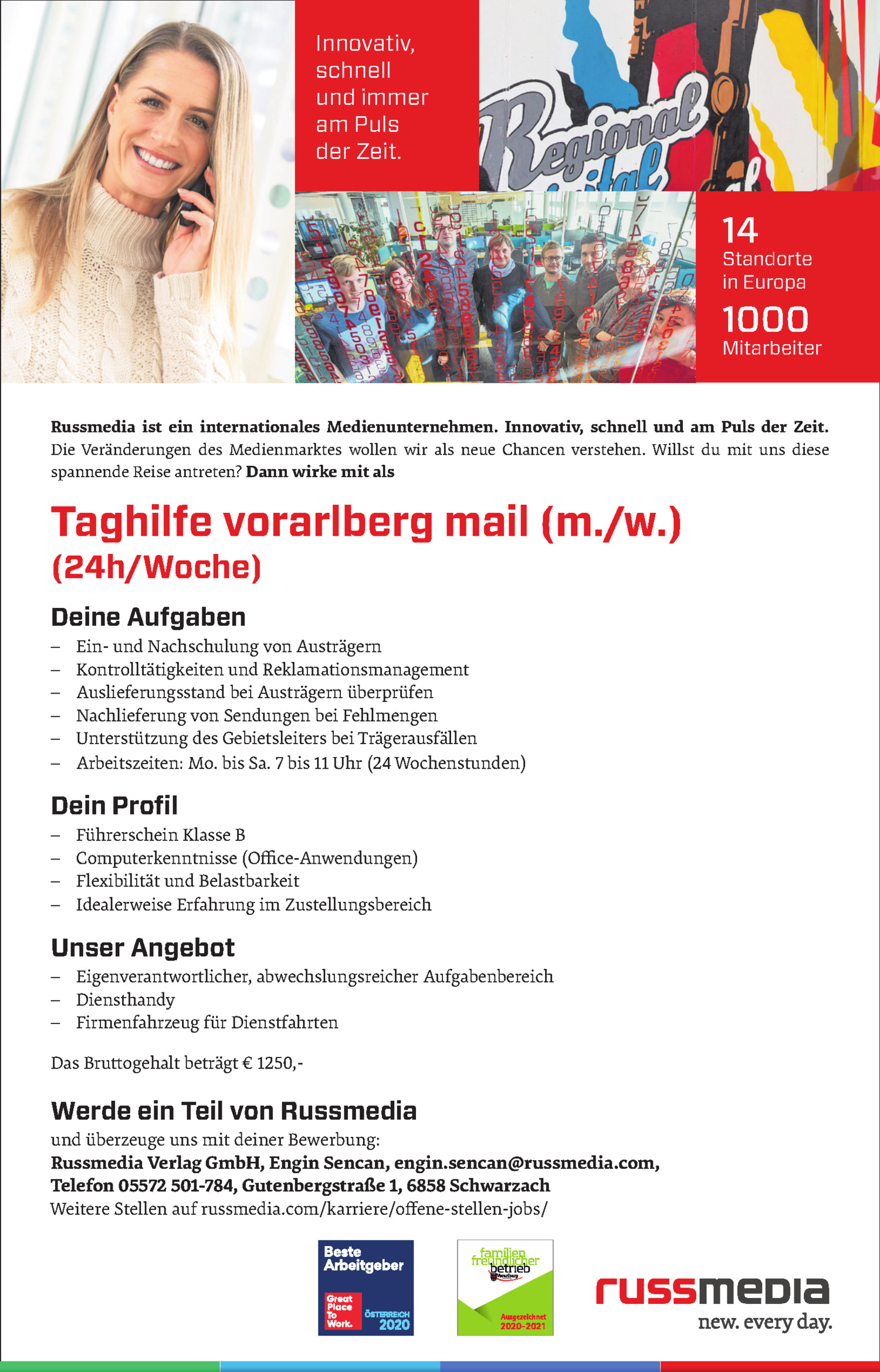 Inserat Taghilfe vorarlberg mail (m./w.) (24h/Woche)