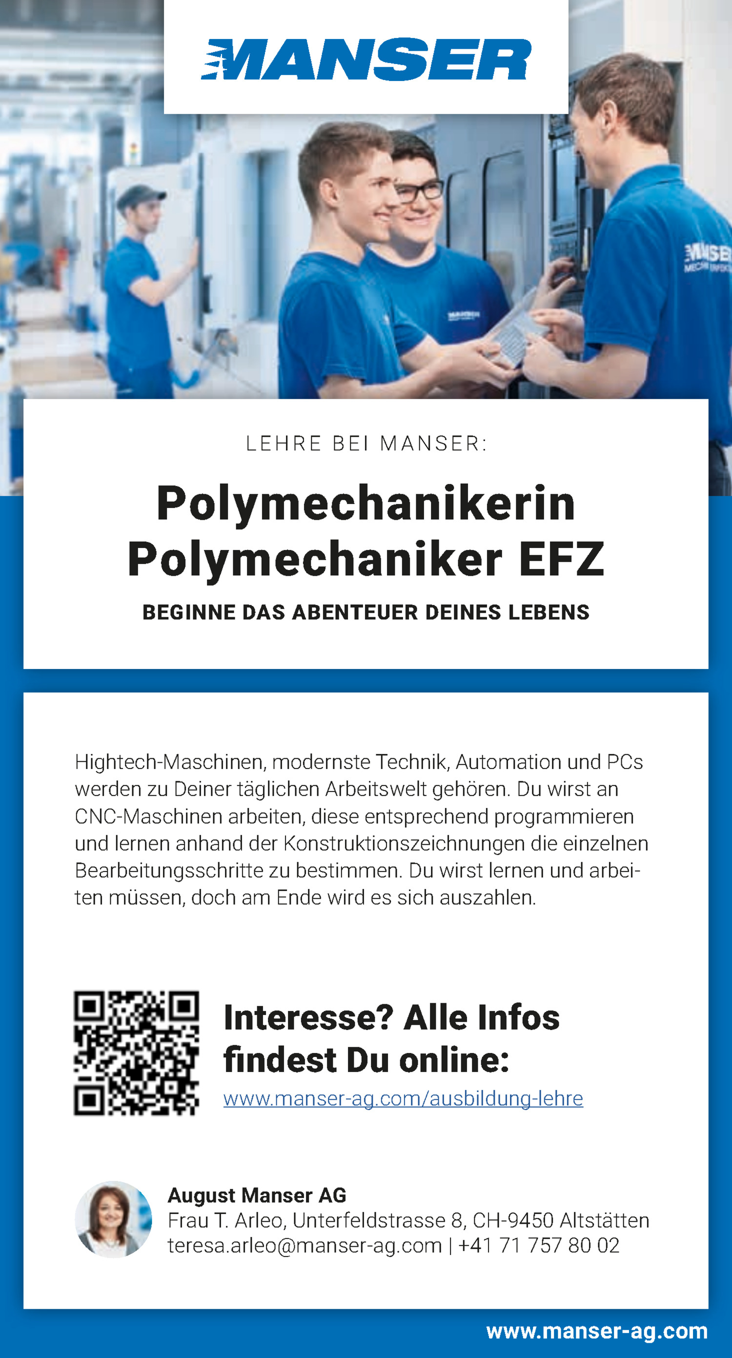 Inserat Lehrstelle Polymechaniker EFZ (Sommer 2021)