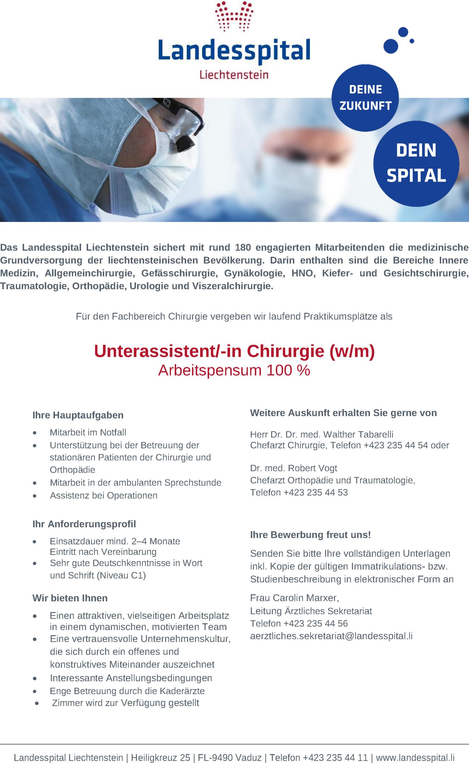 Inserat Unterassistent/-in Chirurgie (w/m)