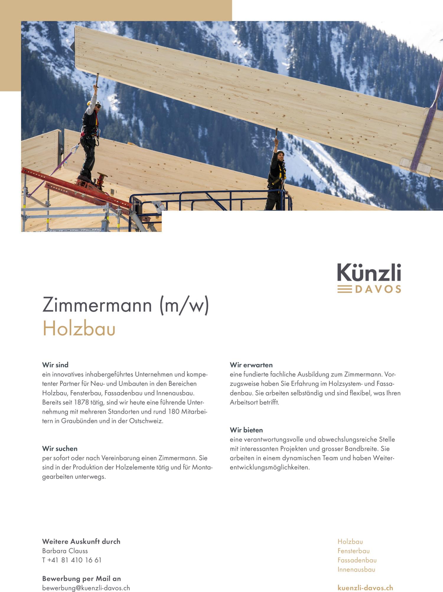 Inserat Zimmermann m/w - Davos
