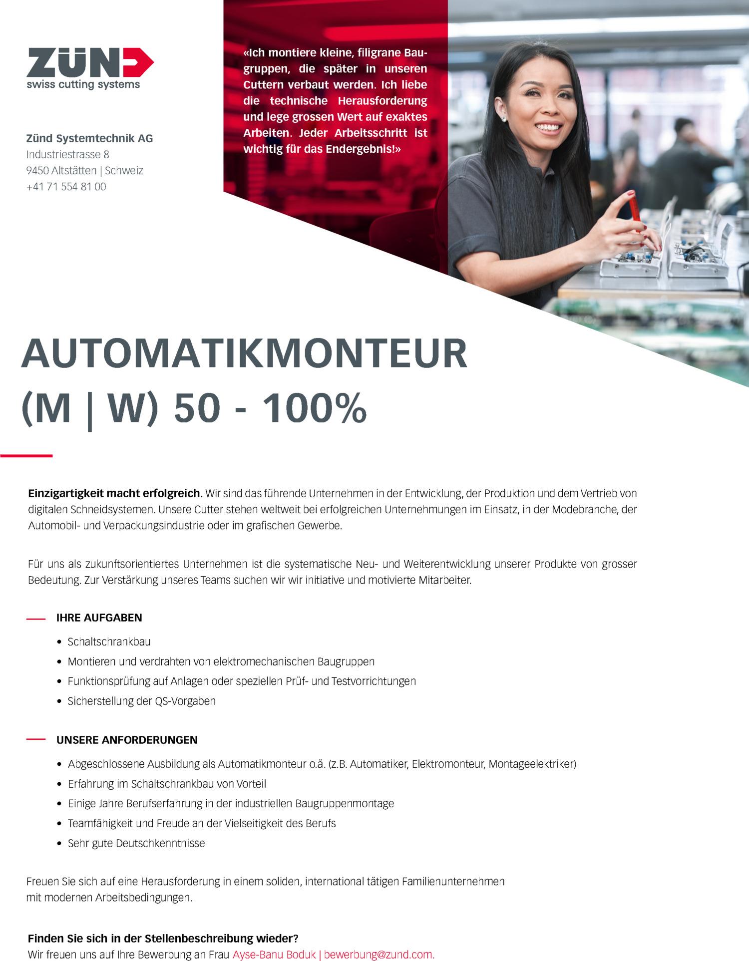 Inserat Automatikmonteur (m/w) 50-100%