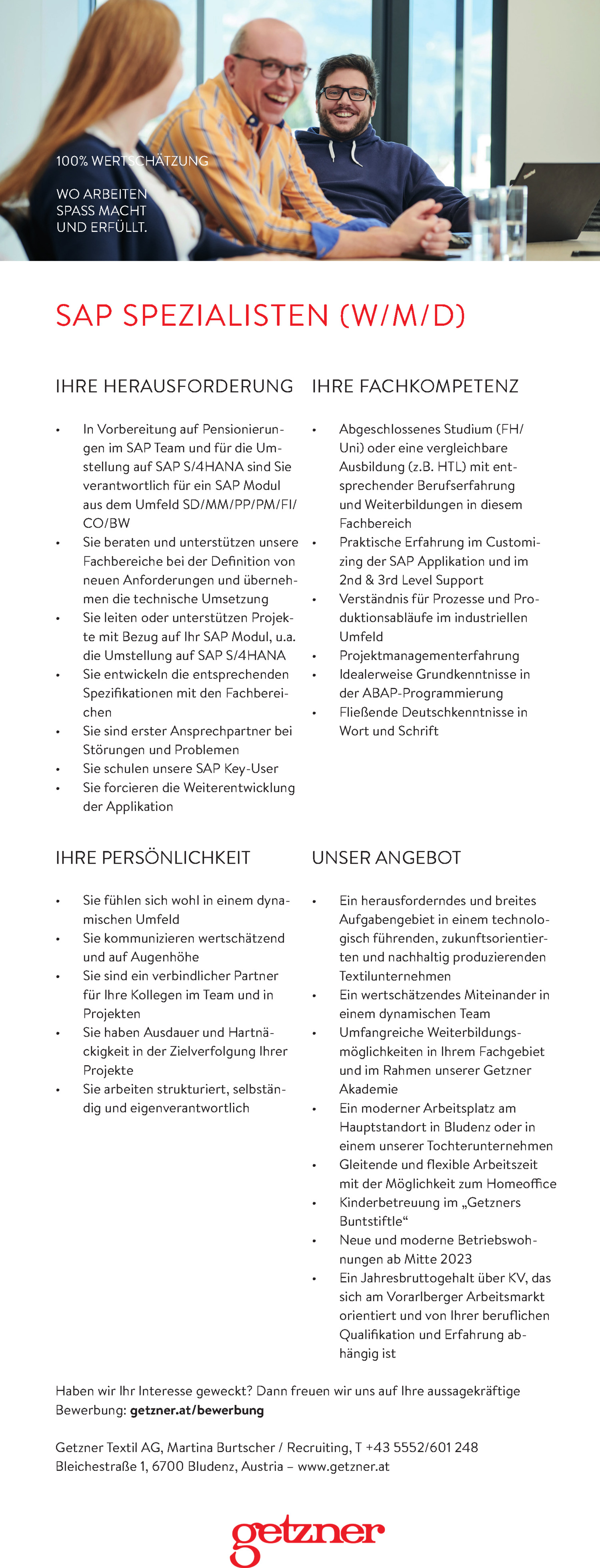 Inserat SAP SPEZIALISTEN (W/M/D)