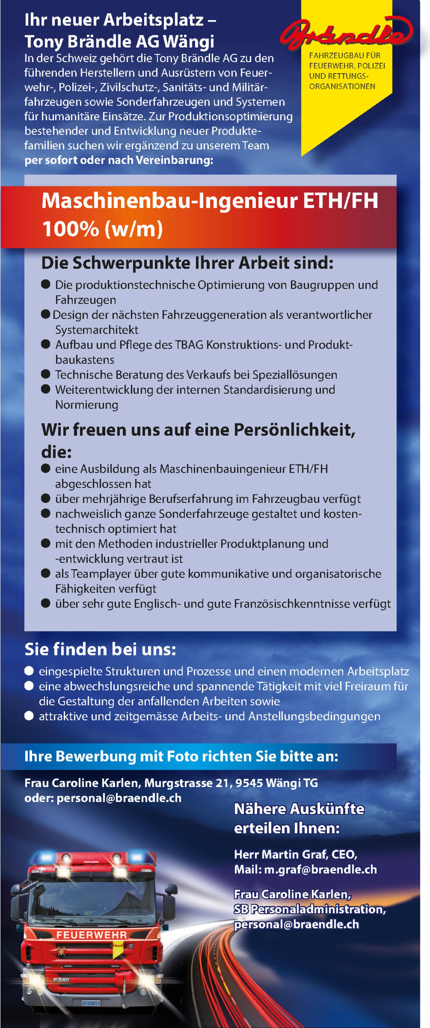 Inserat Maschinenbau-Ingenieur ETH / FH 100 % (w/m)