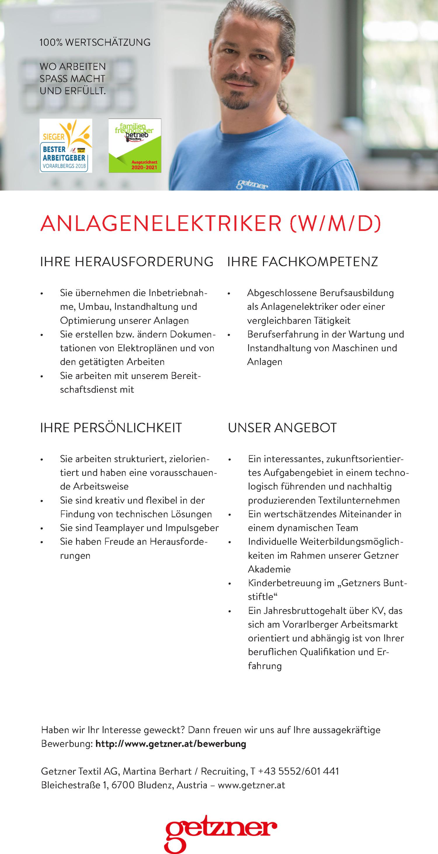 Inserat ANLAGENELEKTRIKER (W/M/D)