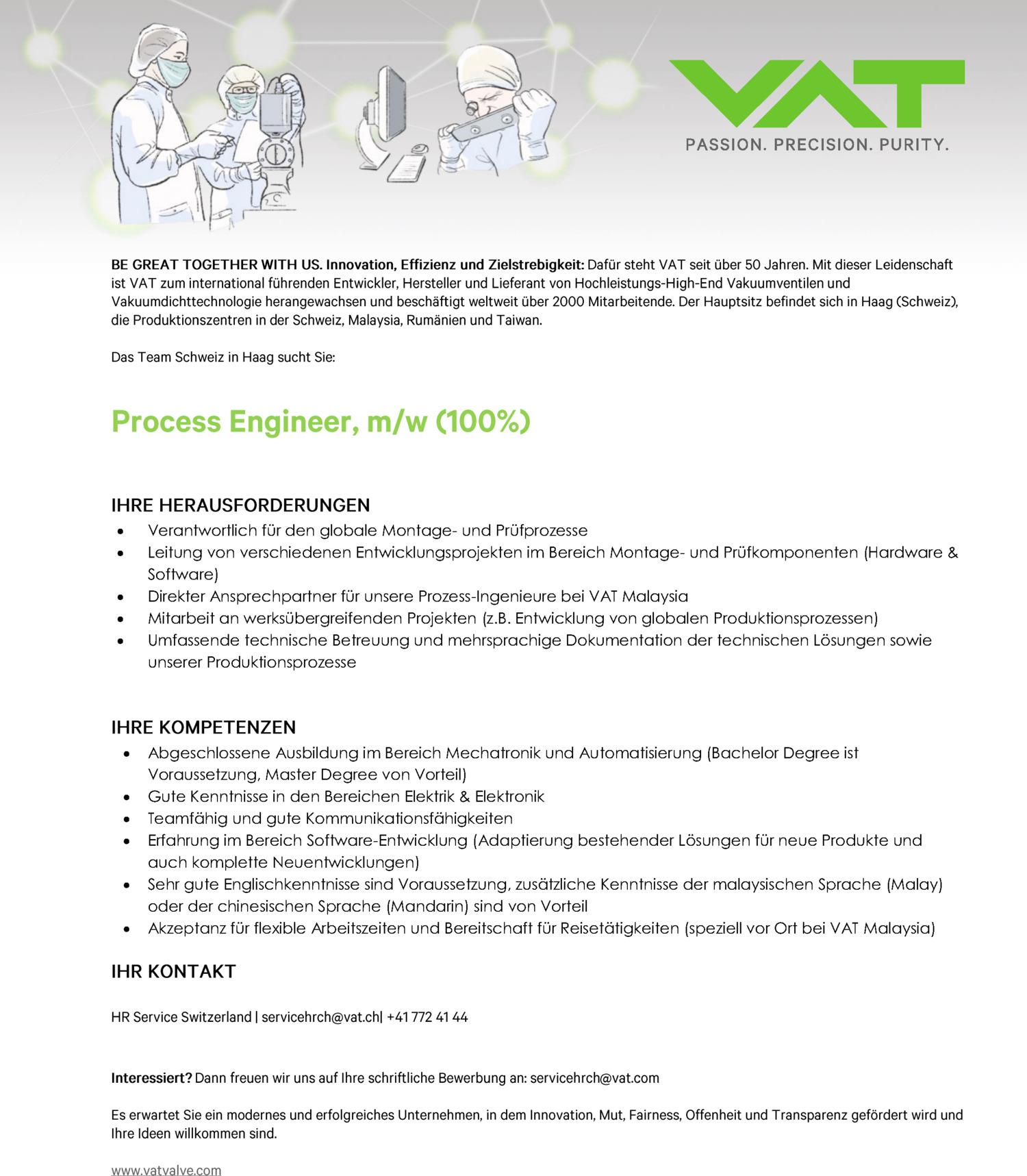 Inserat Process Engineer, m/w (100%)