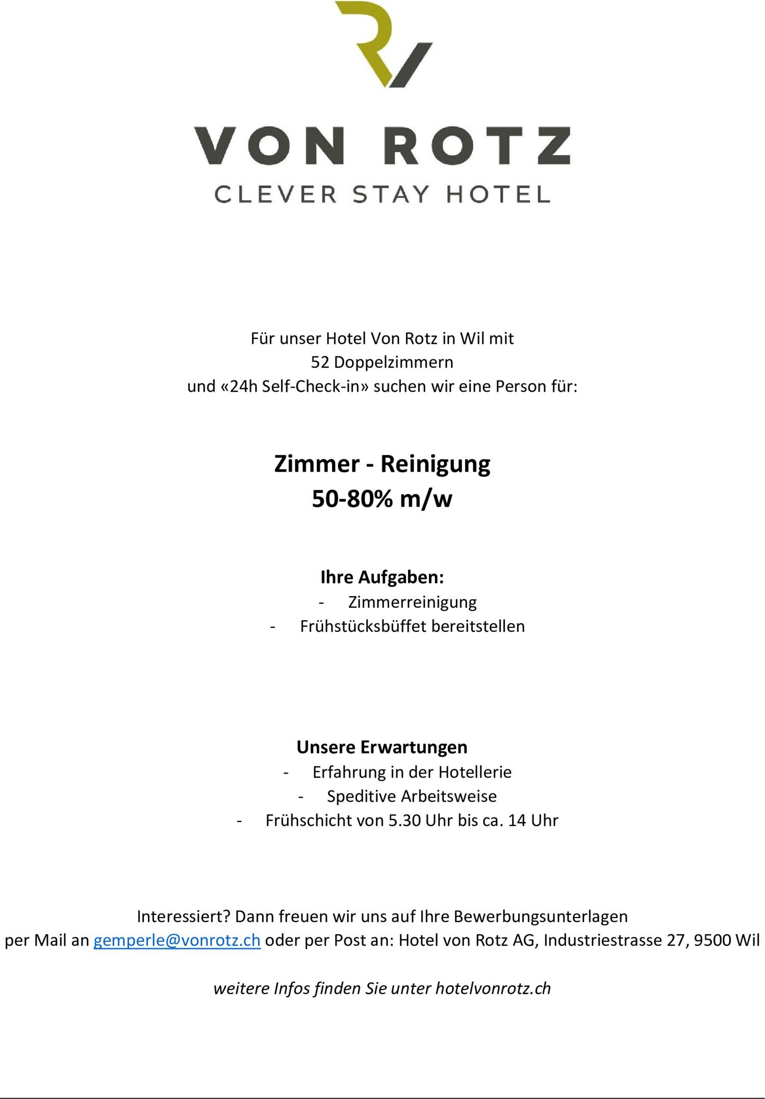Inserat Zimmer - Reinigung 50-80% m/w
