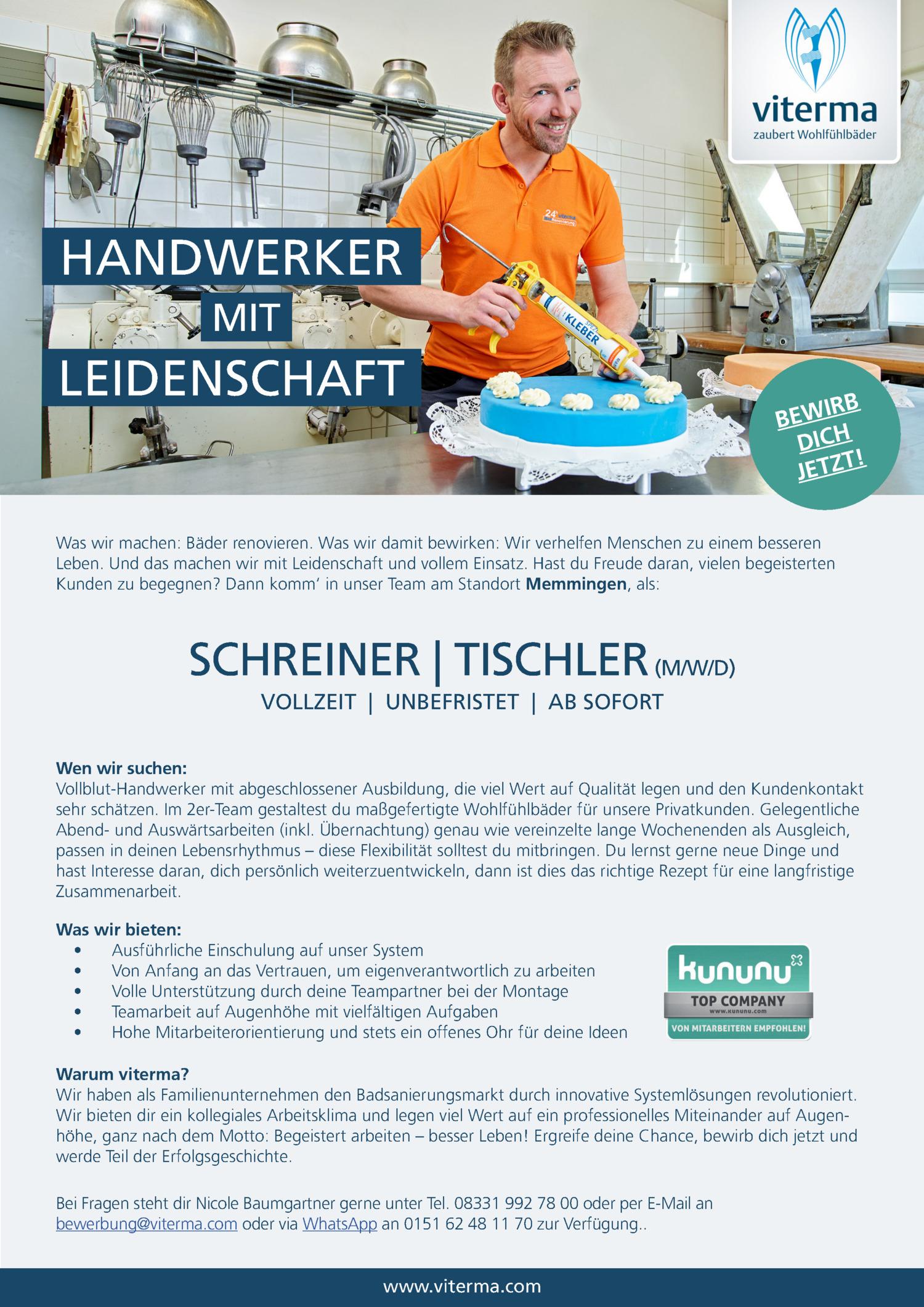 Inserat Schreiner/ Tischler (m/w/d)