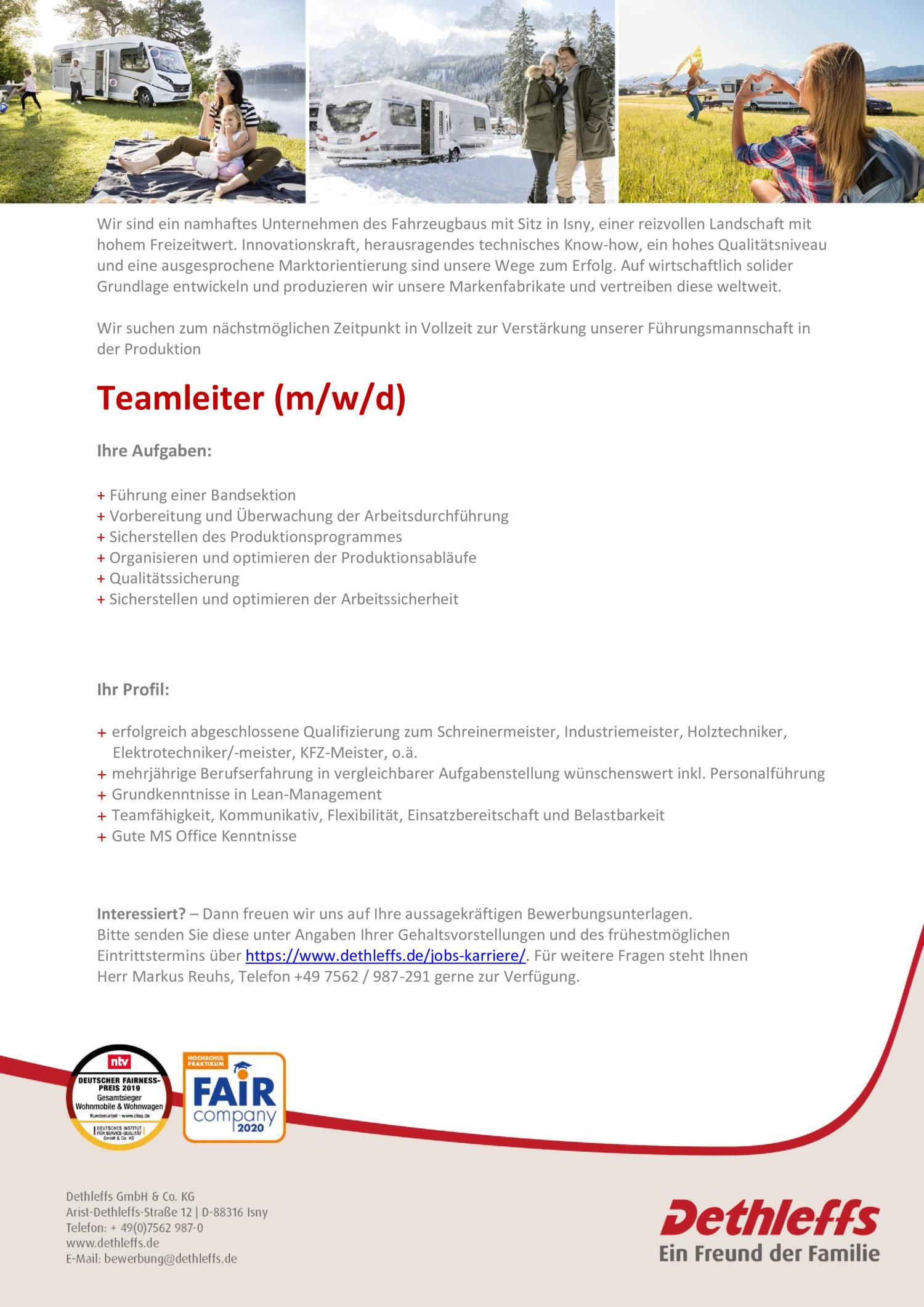 Inserat Teamleiter (m/w/d)