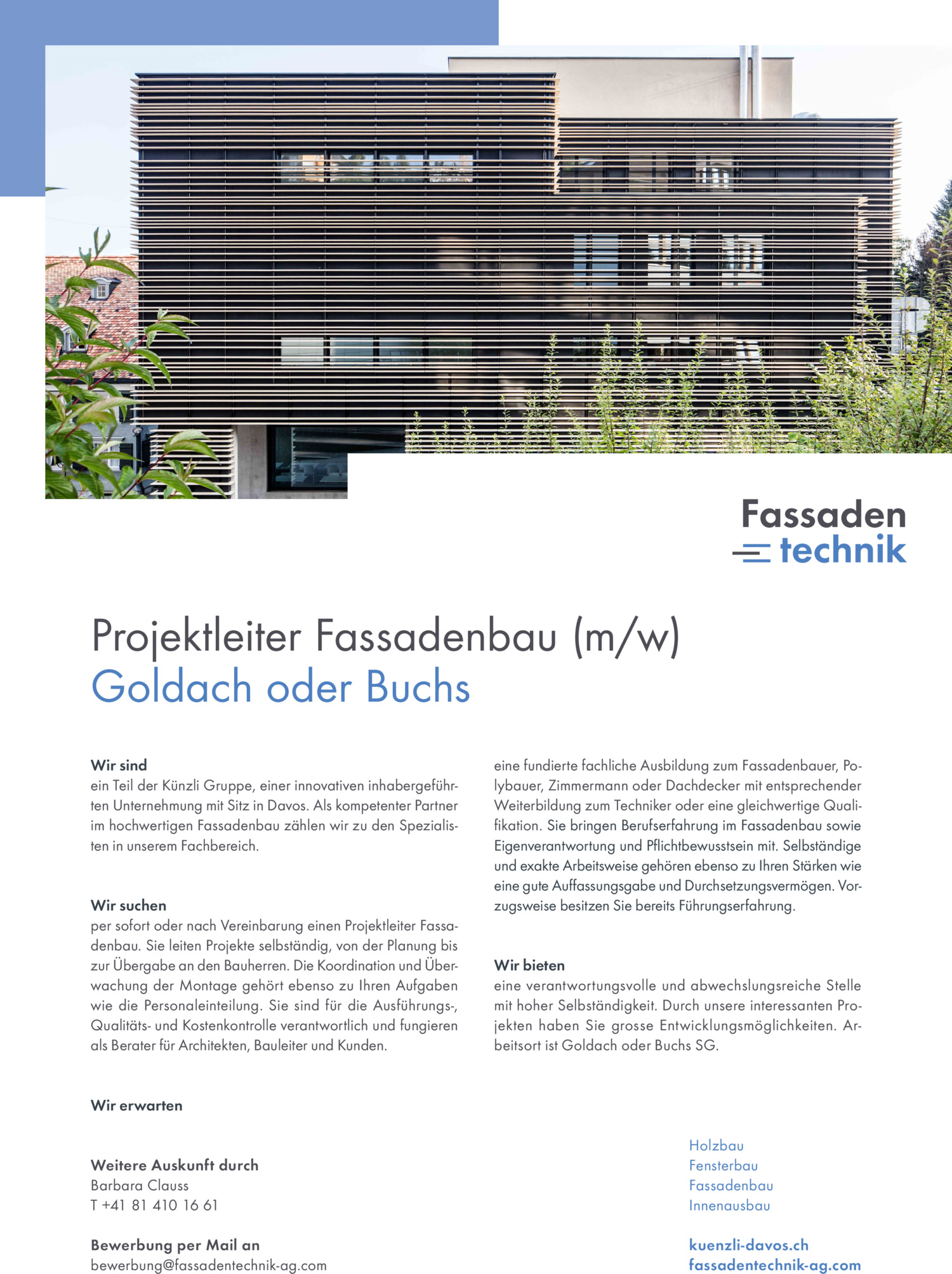 Inserat Projektleiter Fassadenbau (m/w) – Goldach oder Buchs