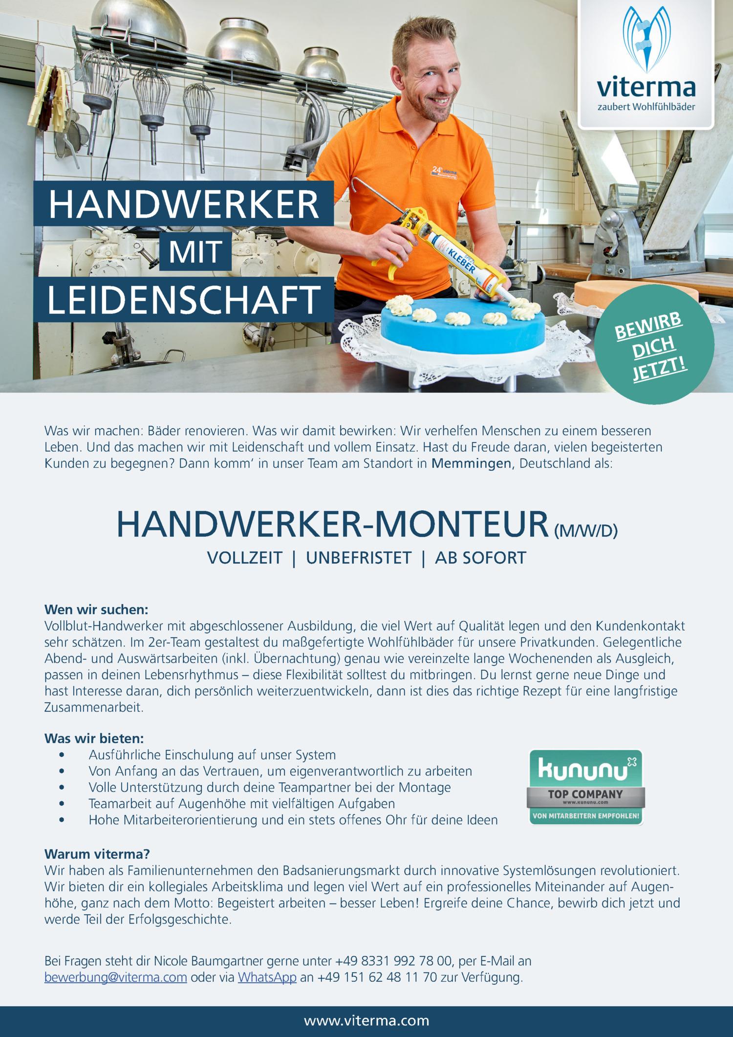 Inserat Handwerker-Monteur (m/w/d)