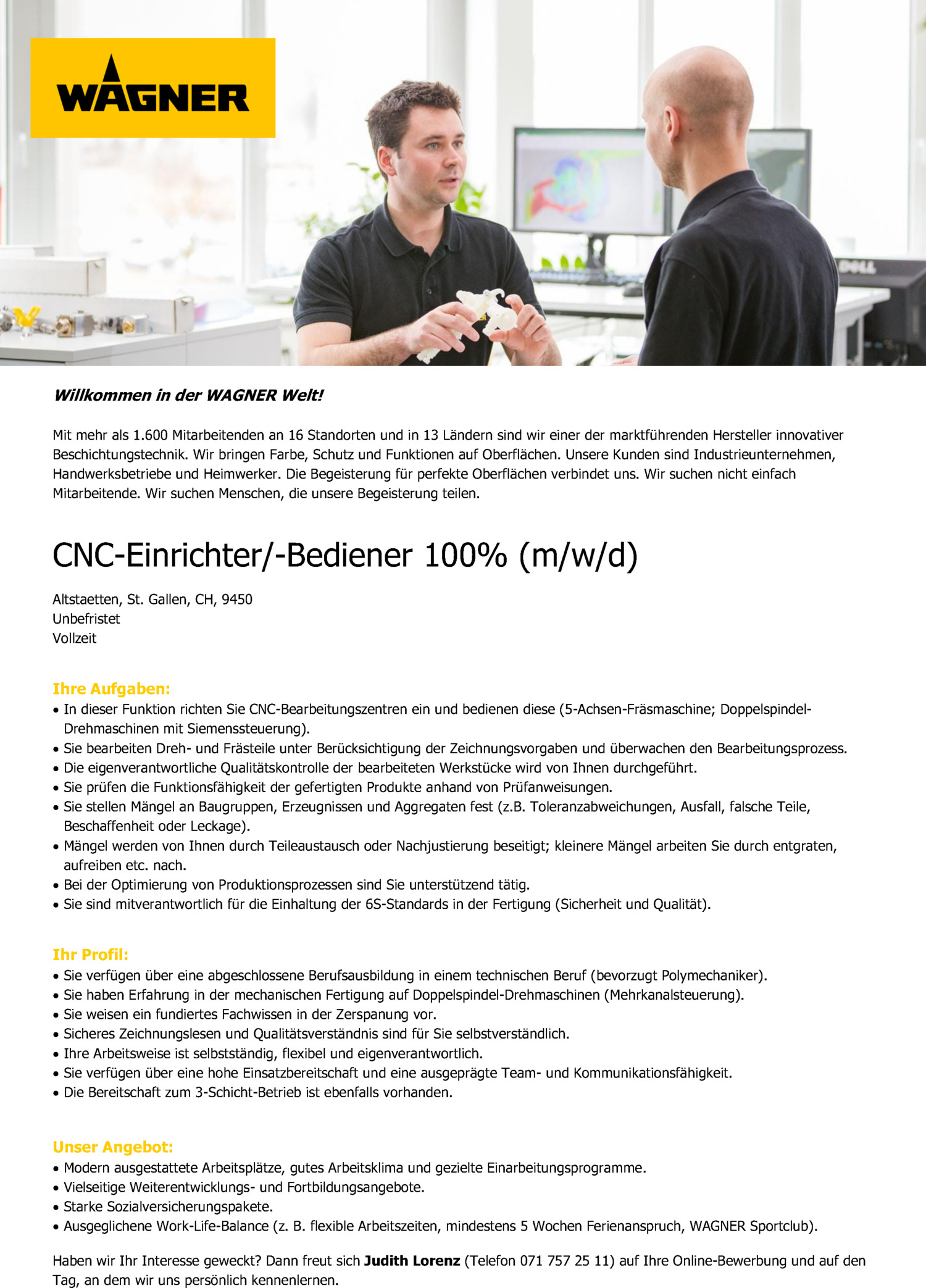 Inserat CNC-Einrichter/-Bediener 100% (m/w/d) Altstaetten, St.