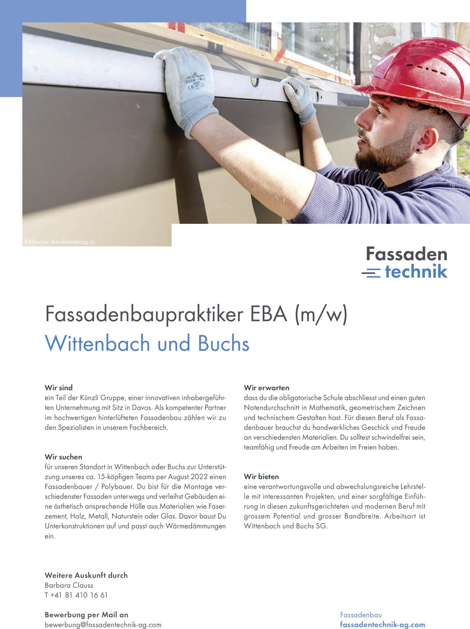 Inserat Fassadenbaupraktiker EBA (m/w) – Wittenbach oder Buchs