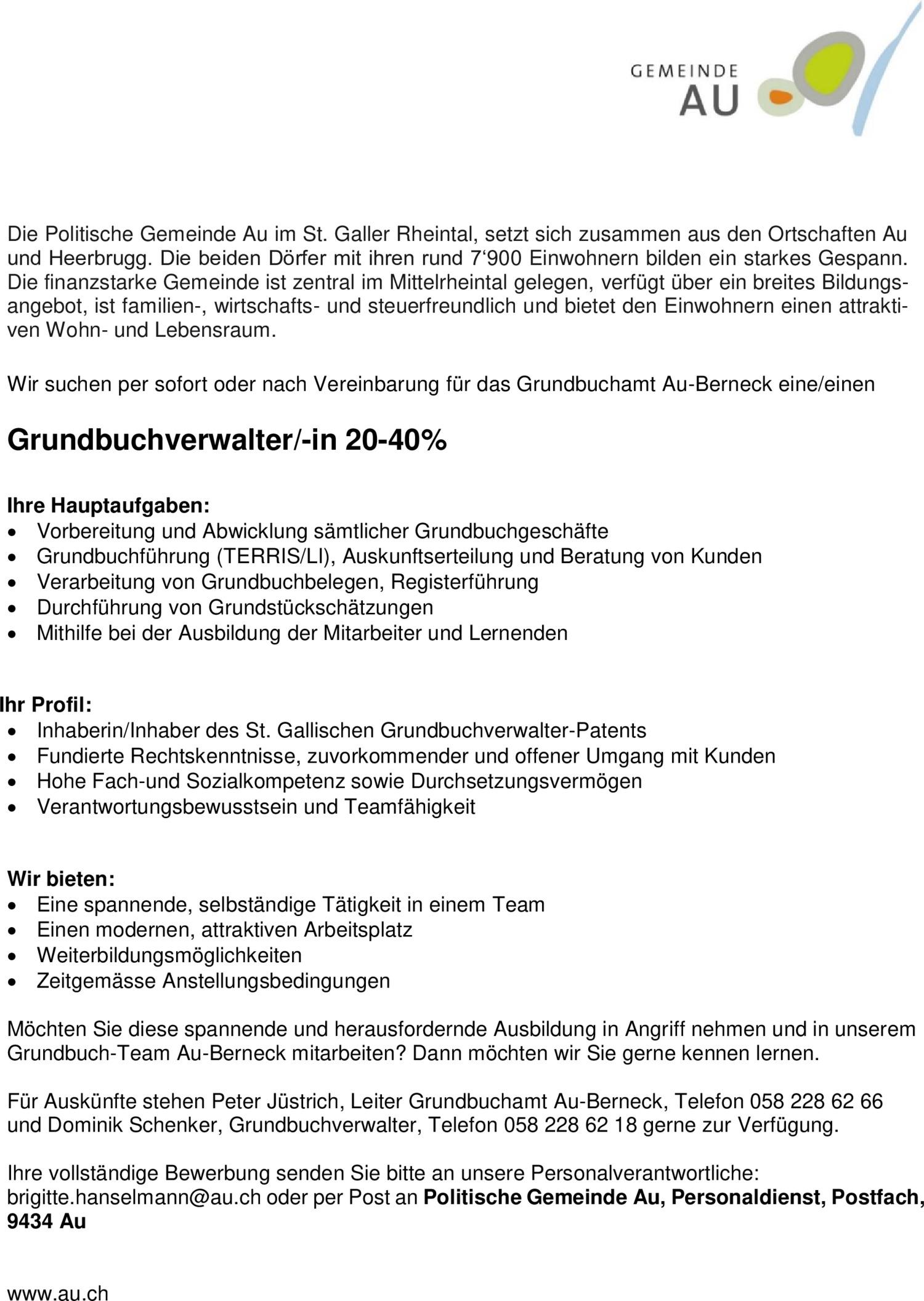 Inserat Grundbuchverwalter/-in 20-40%