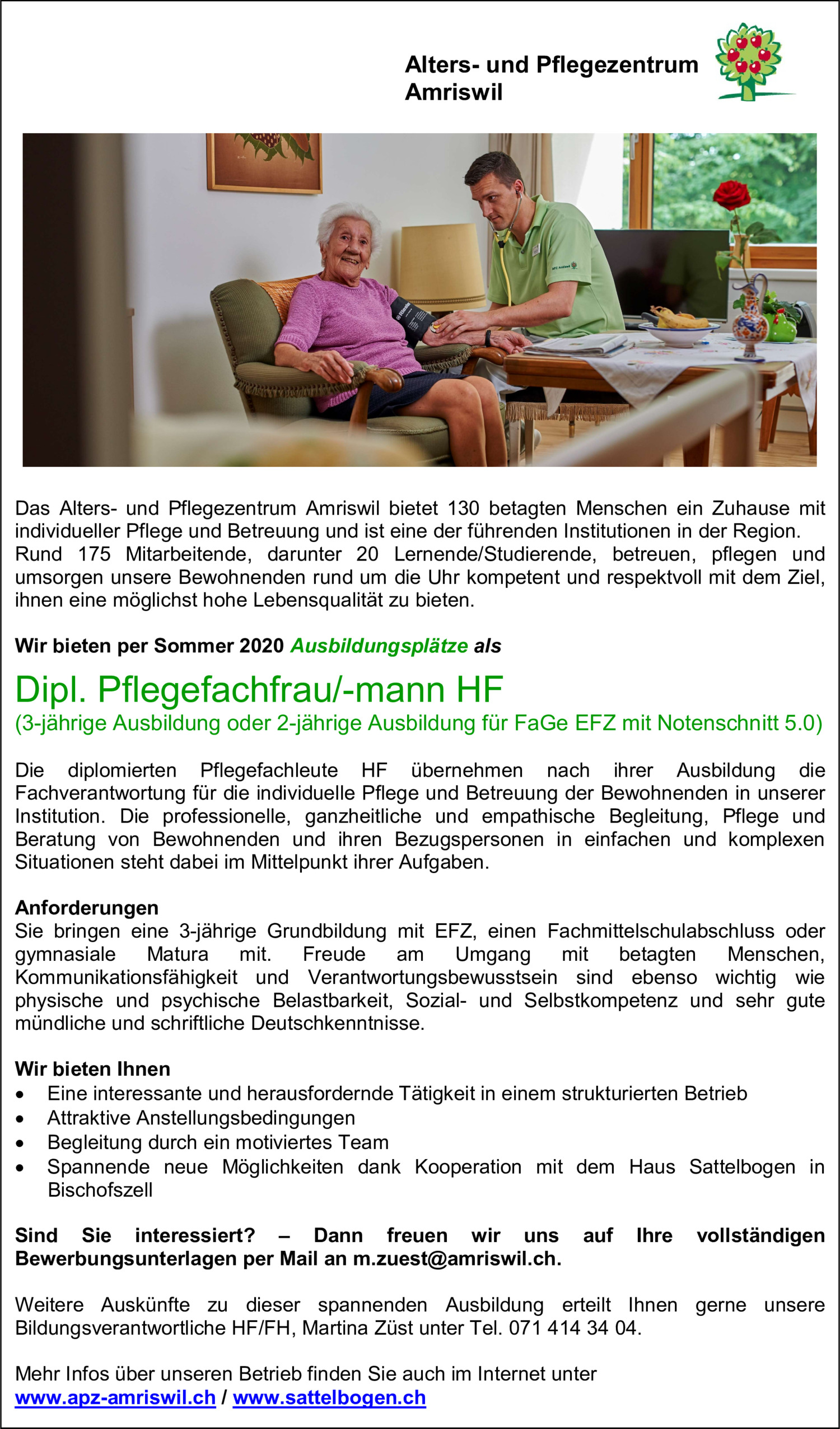 Inserat Dipl. Pflegefachfrau HF / Dipl. Pflegefachmann HF (Ausbildungsplatz)
