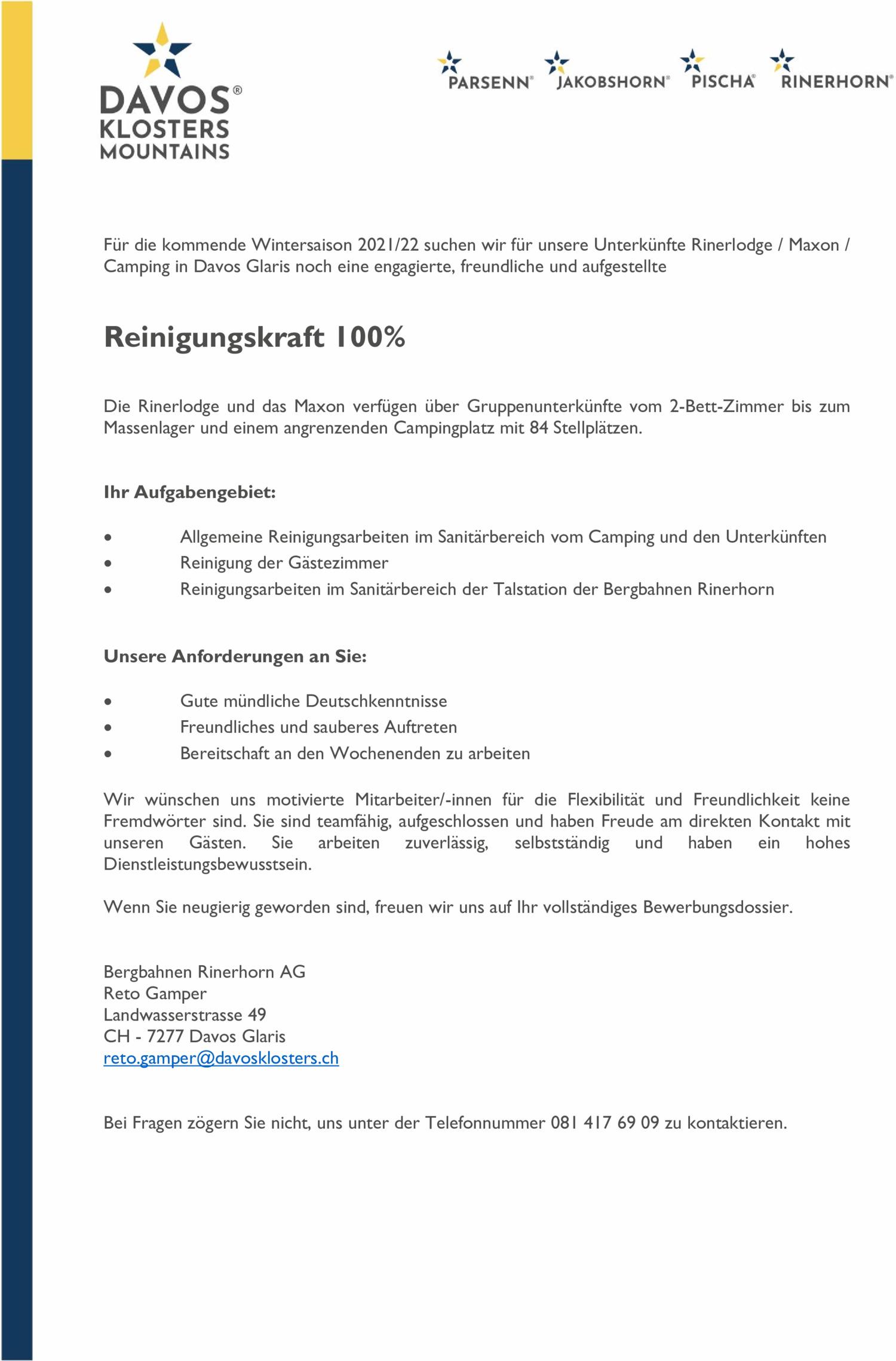 Inserat Bergbahnen Rinerhorn AG: Reinigungskraft 100%