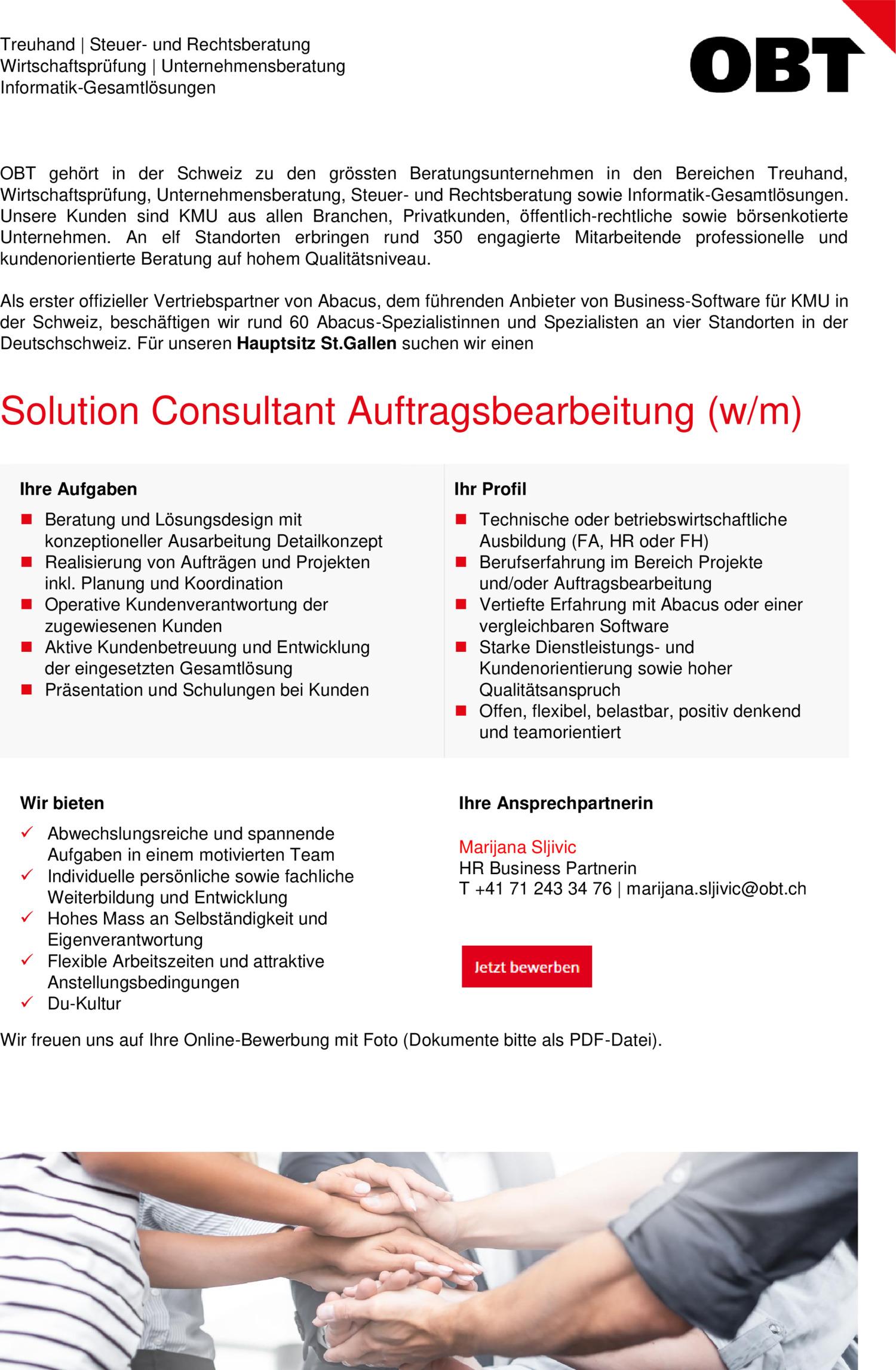 Inserat Solution Consultant Auftragsbearbeitung (w/m)