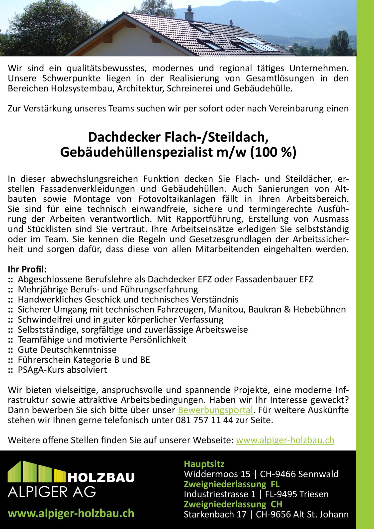 Inserat Dachdecker Flach-/Steildach, Gebäudehüllenspezialist (m/w) 100%