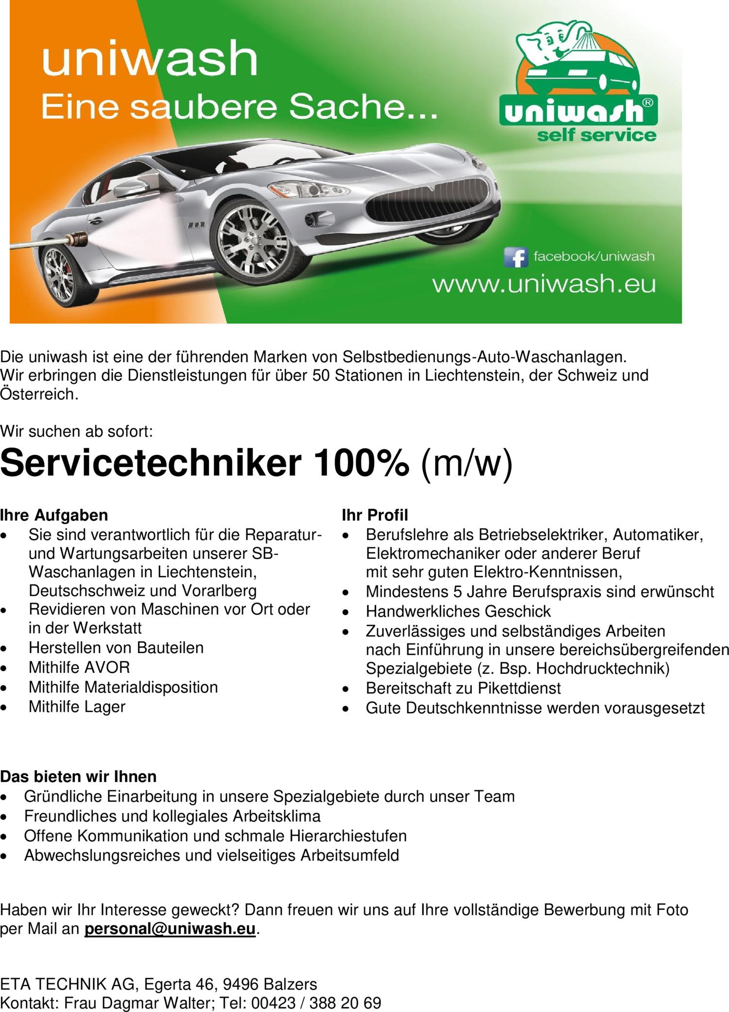 Inserat Servicetechniker 100% (m/w)
