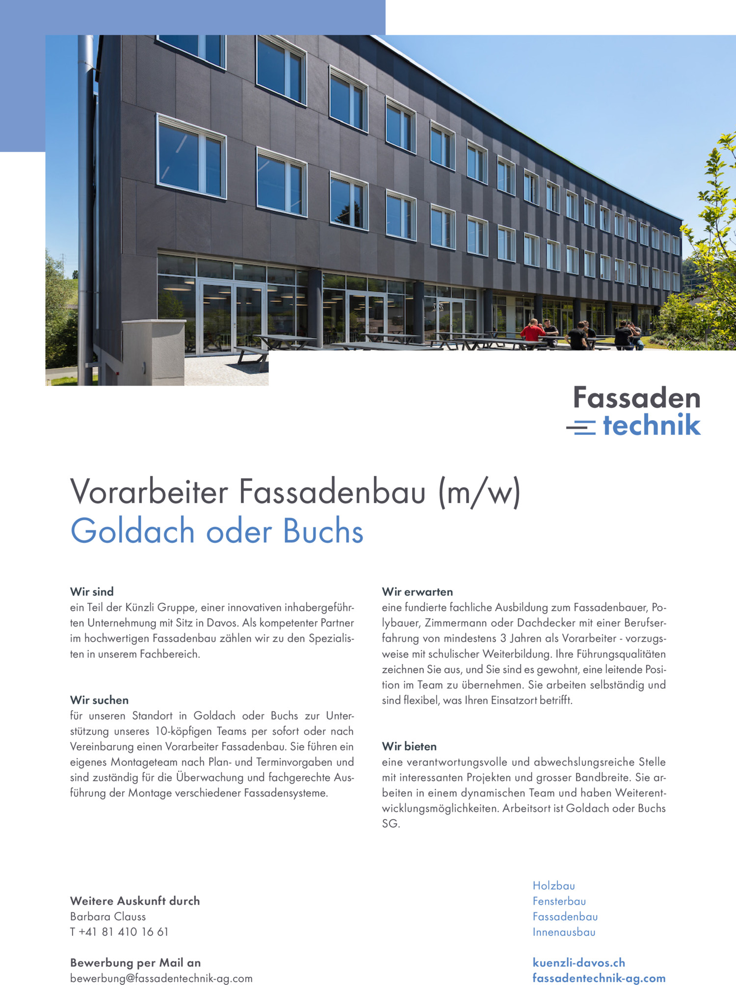 Inserat Vorarbeiter Fassadenbau (m/w) – Goldach oder Buchs