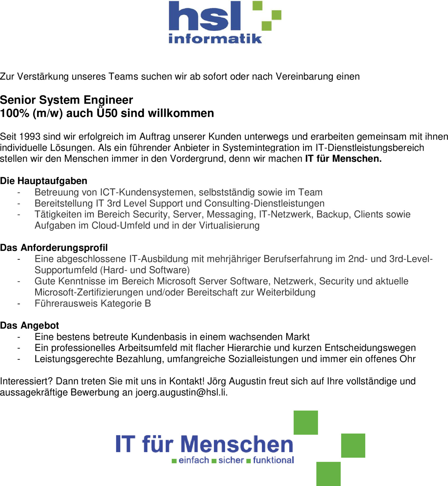 Inserat Senior System Engineer