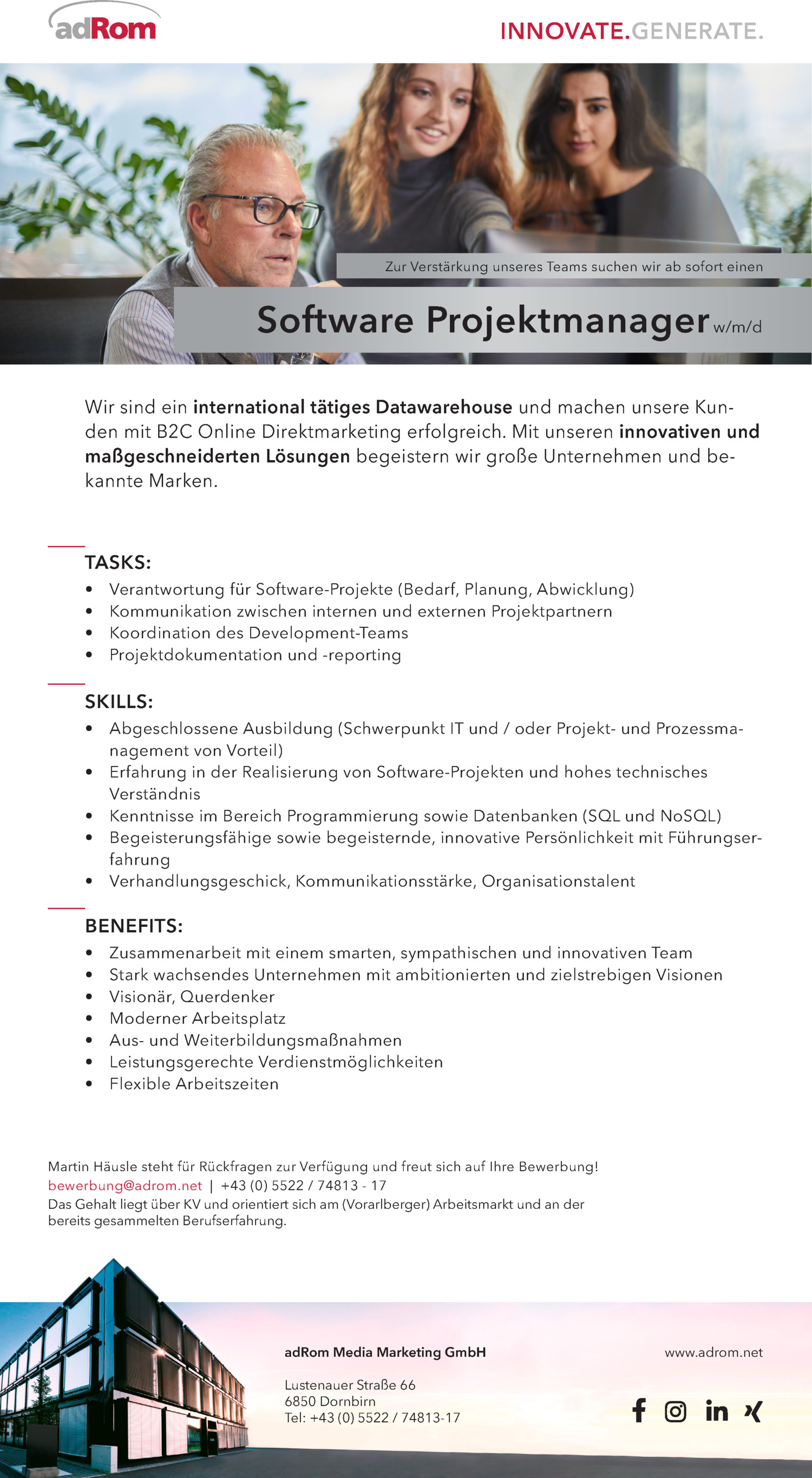 Inserat Software Projektmanager (w/m/d)