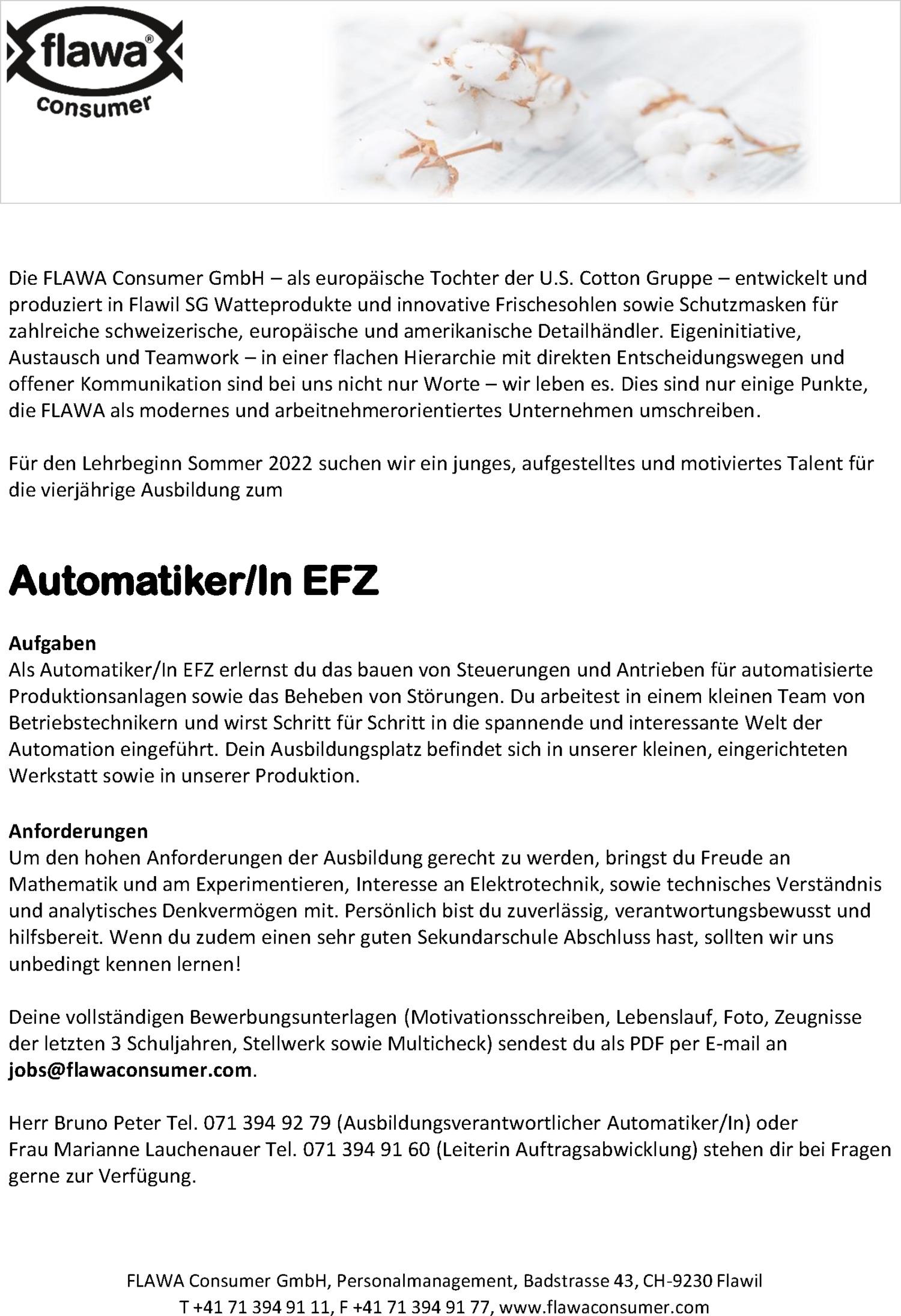 Inserat Automatiker/In EFZ