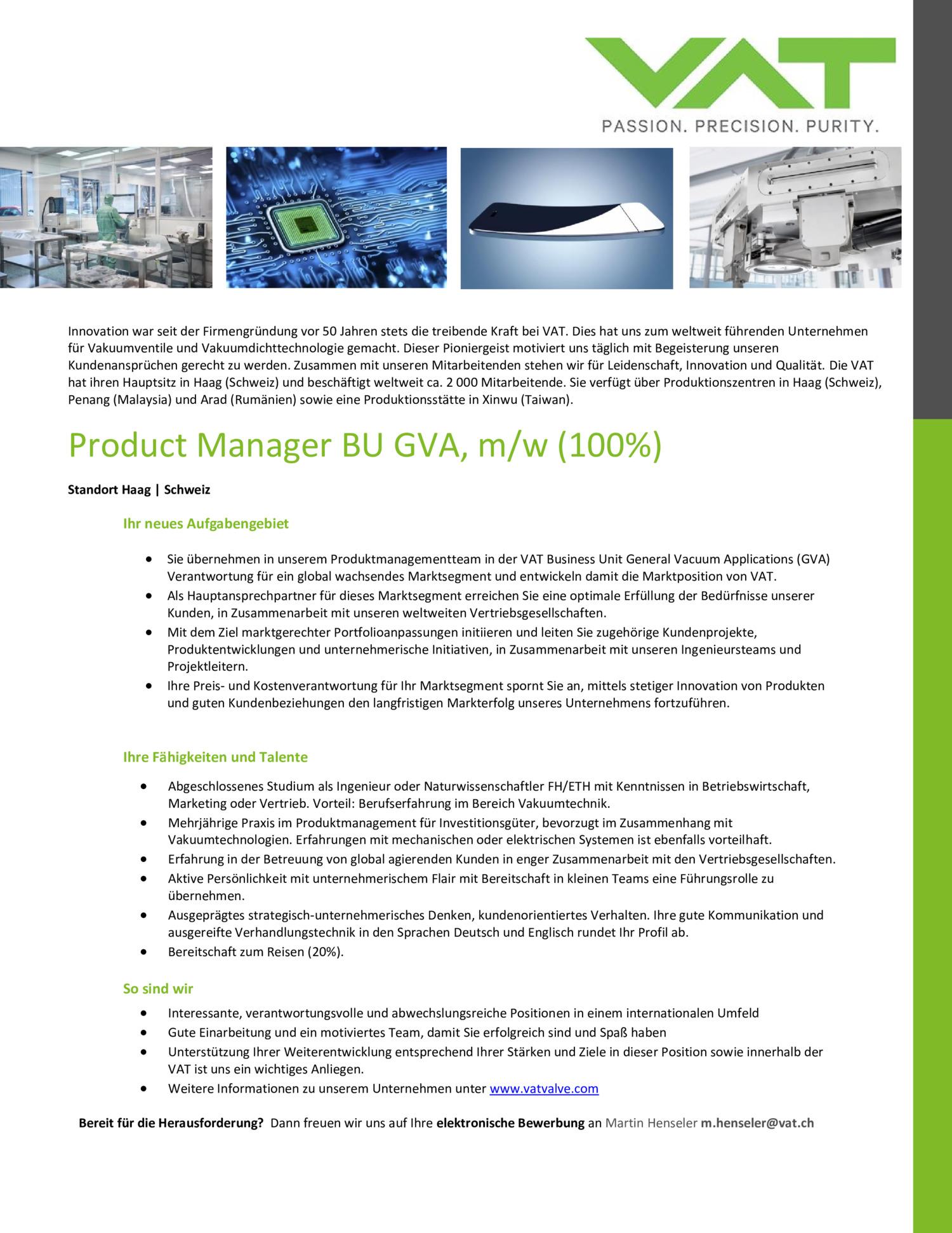 Inserat Product Manager BU GVA, M/W (100%)
