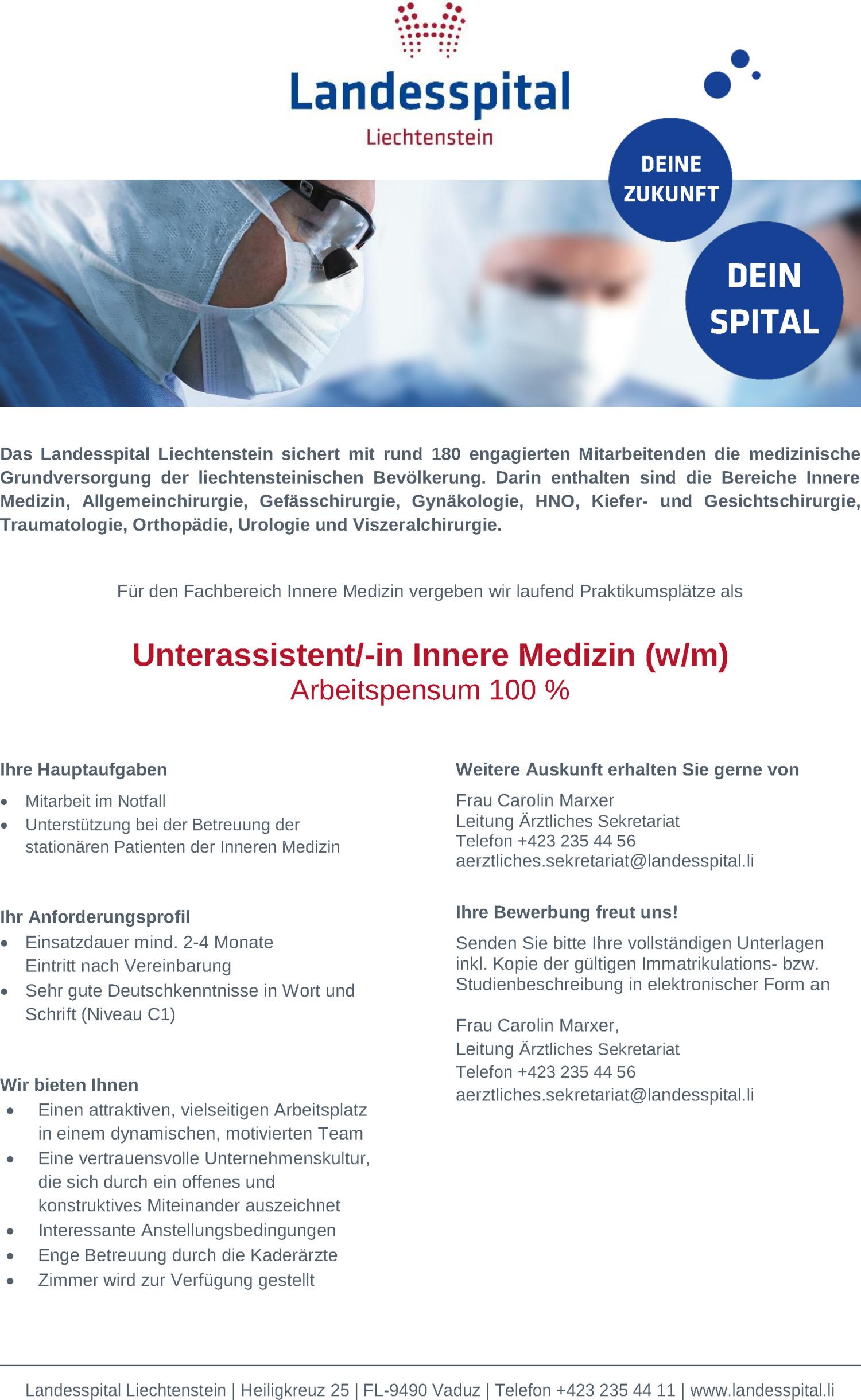 Inserat Unterassistent/-in Innere Medizin (w/m)