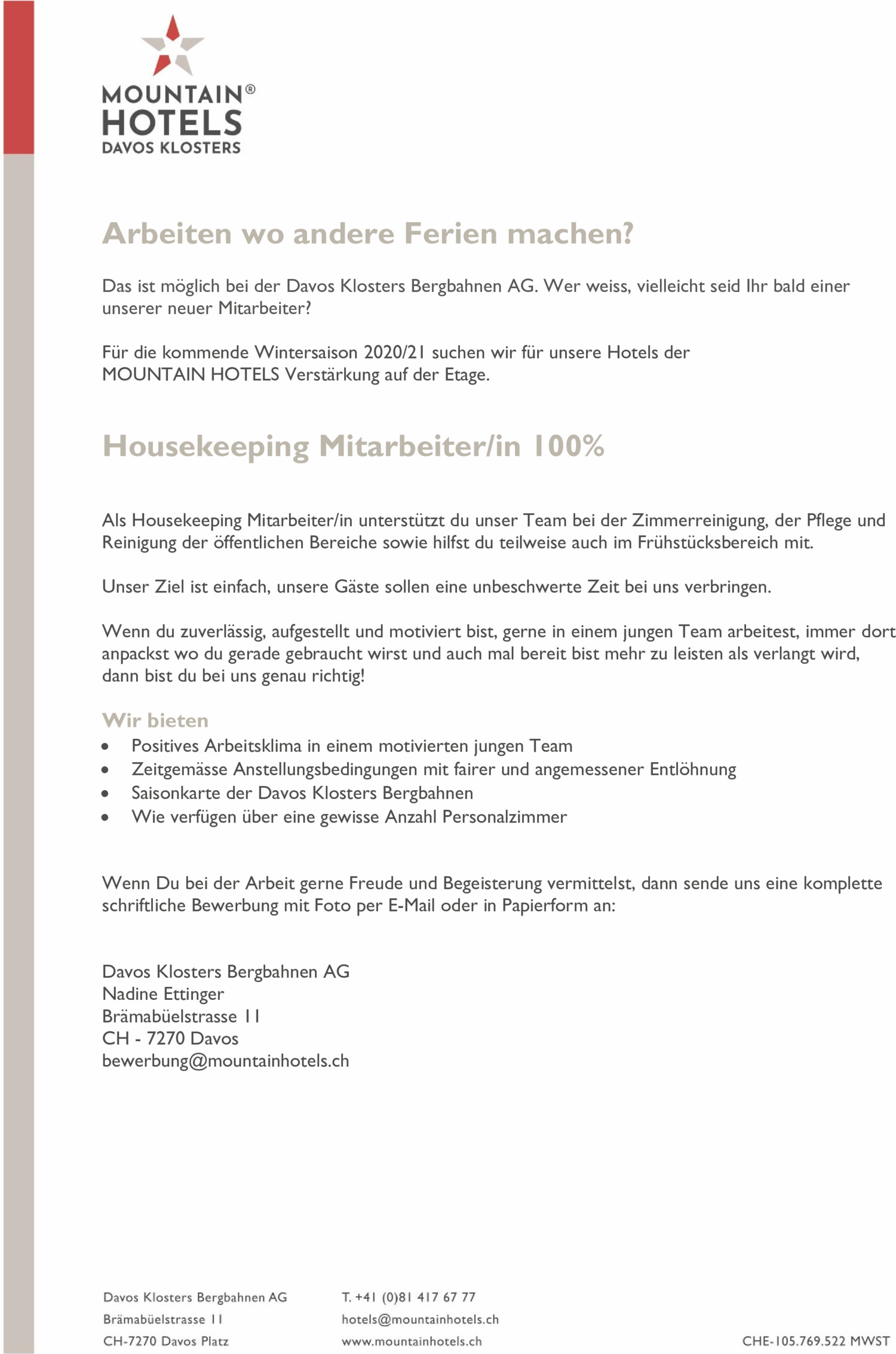 Inserat Davos Klosters Bergbahnen AG: Housekeeping Mitarbeiter/in 100%
