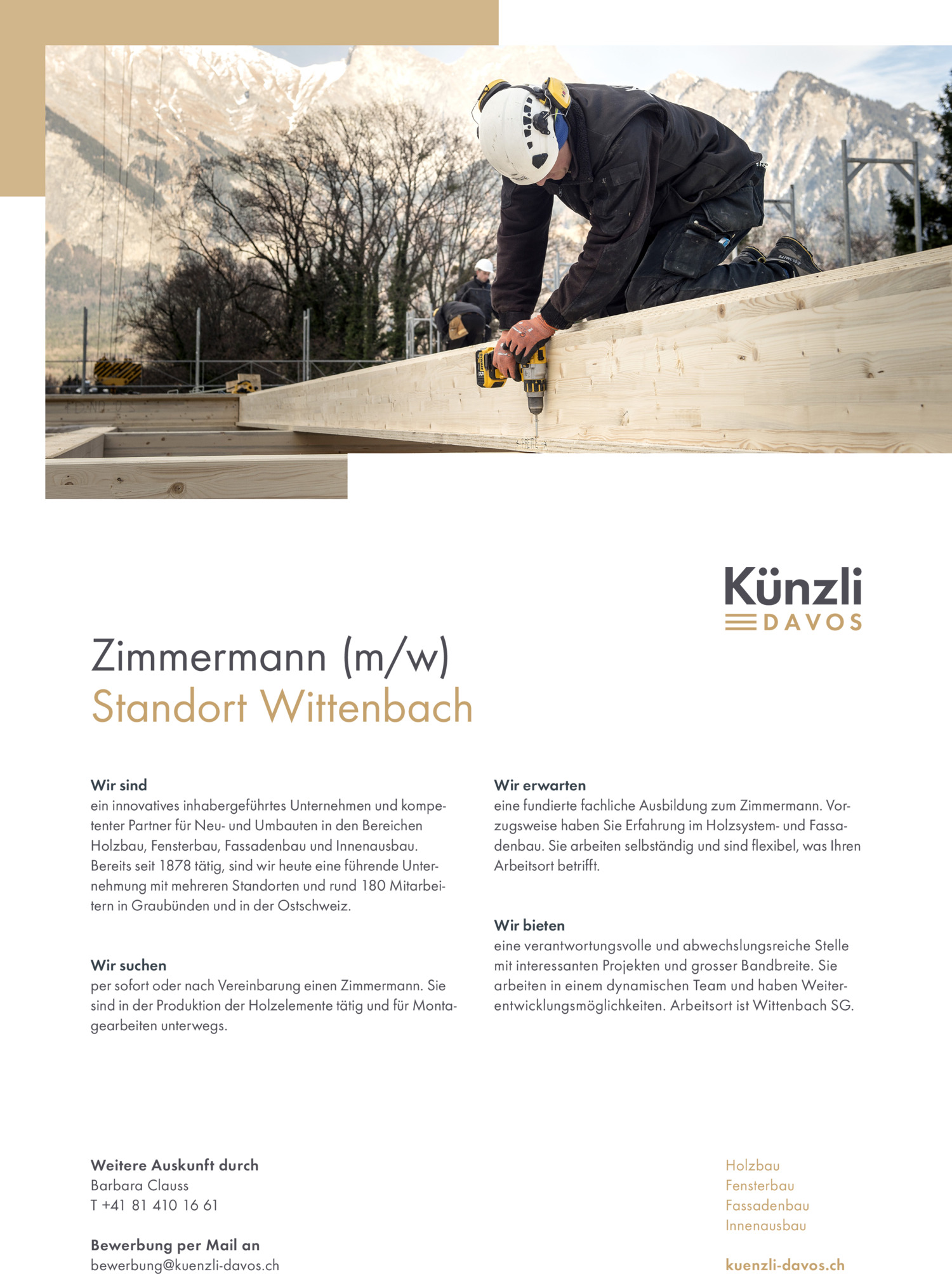 Inserat Zimmermann m/w - Wittenbach