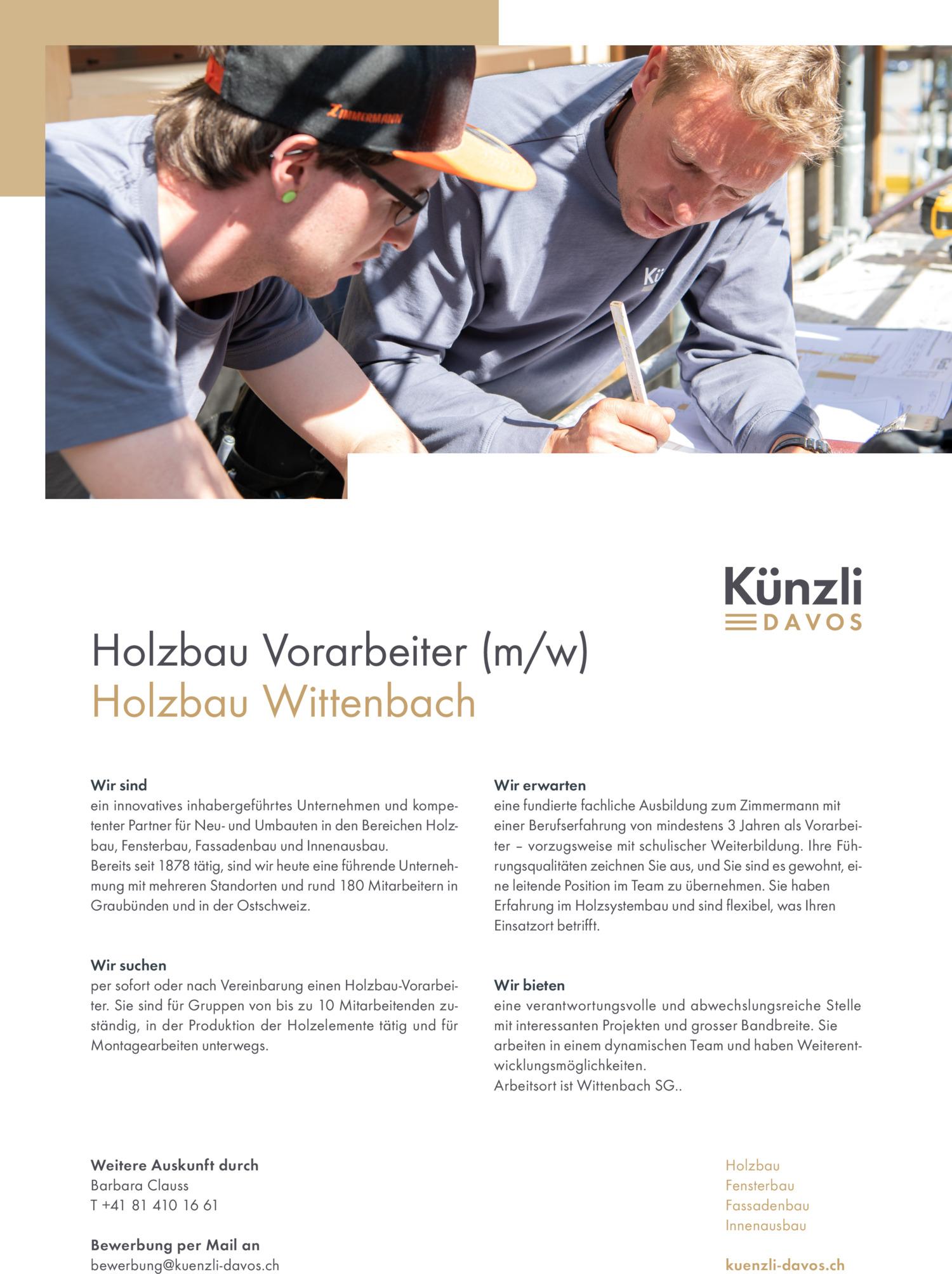 Inserat Holzbau-Vorarbeiter (m/w) – Wittenbach